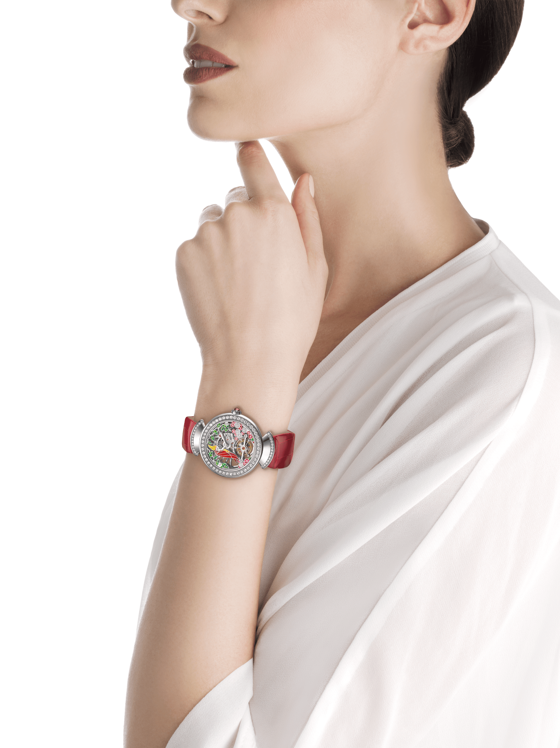 DIVAS' DREAM watch with 18kt white gold mechanical manufacture skeletonized movement and tourbillon. 18 kt white gold case set with brilliant-cut diamonds, dial with hand painted parrot, flowers and leaves set with diamonds and red alligator bracelet 102517 image 3