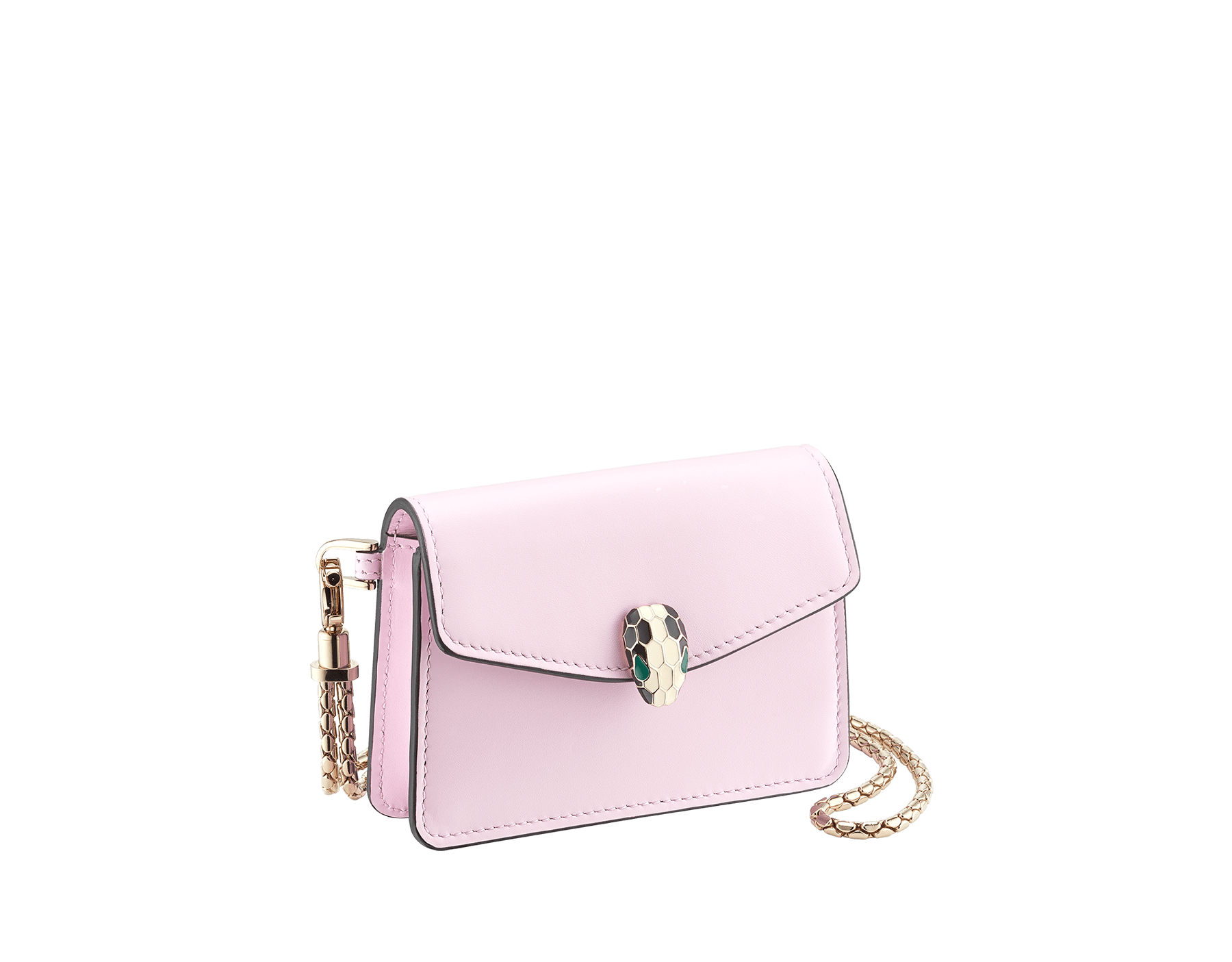 Serpenti Forever neck credit card holder in rosa di francia calf leather. Iconic snake head closure in black and white enamel, with green enamel eyes. 289397 image 1