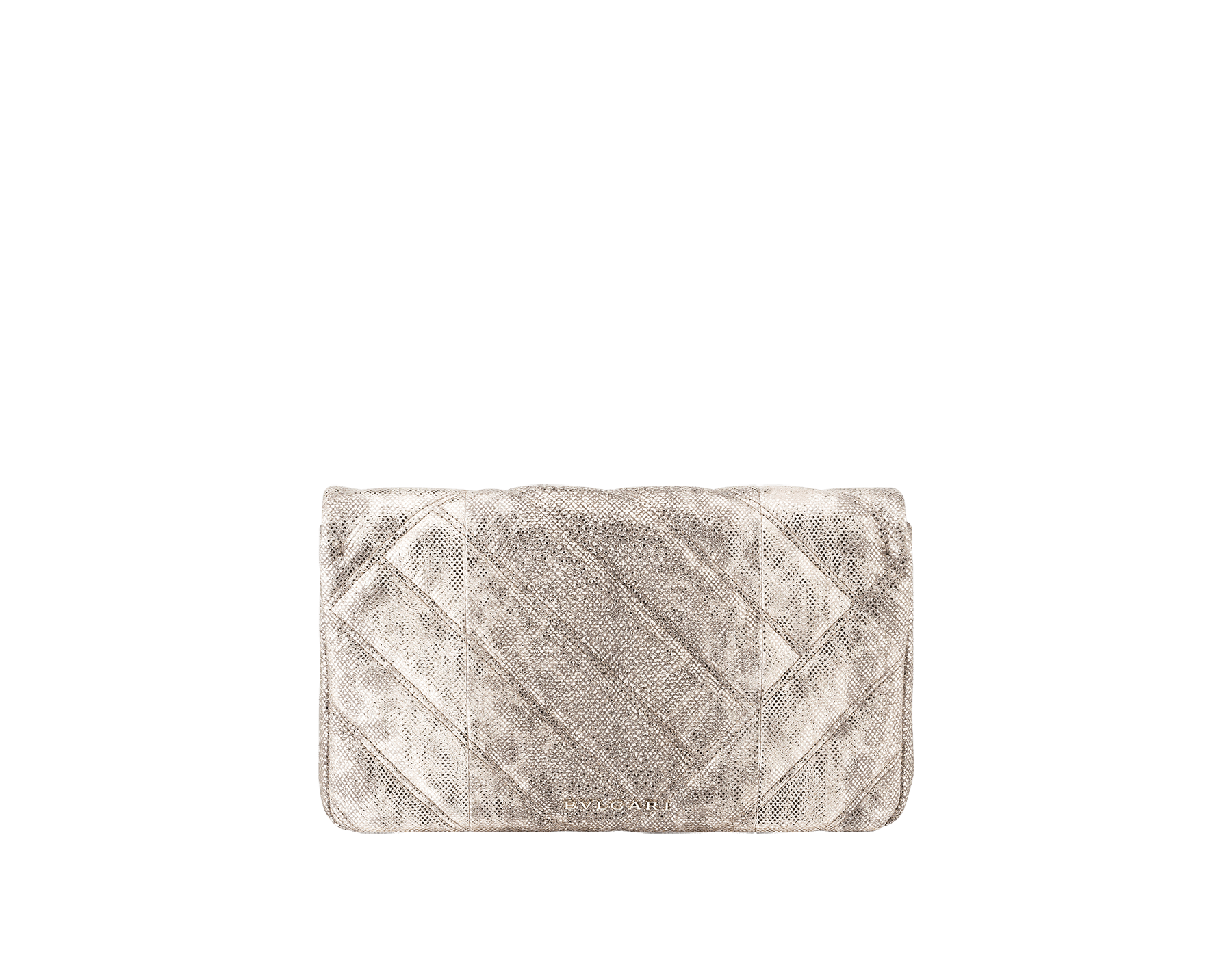 Serpenti Cabochon clutch bag in milky opal metallic karung skin, with a graphic motif. Brass light gold plated tempting snake head closure in black and glitter milky opal enamel and black onyx eyes. 1025-MK image 3