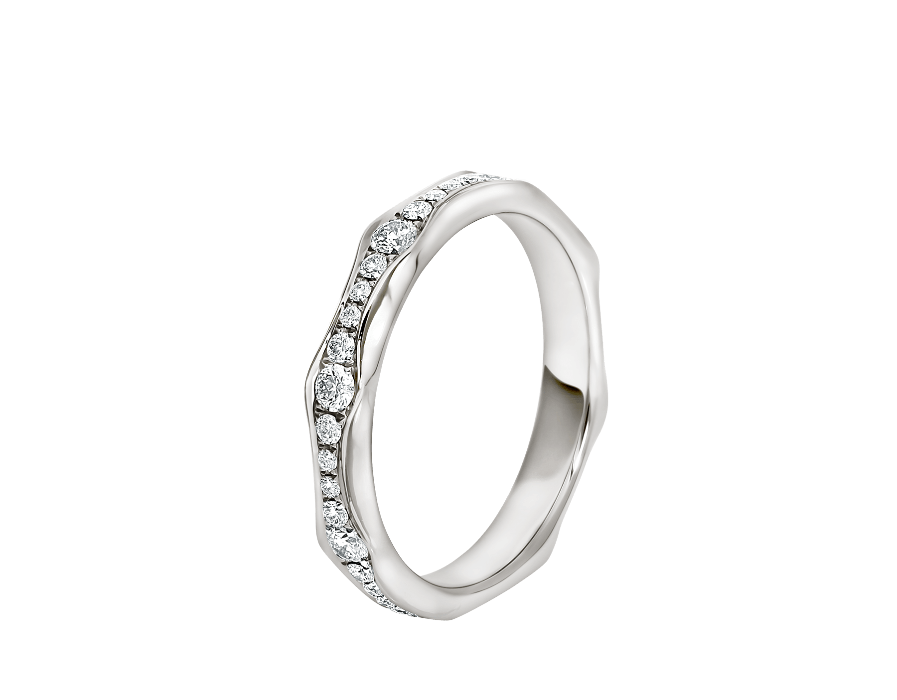 Infinito wedding band in platinum set with full pavé diamonds (0.56 ct). AN857697 image 1