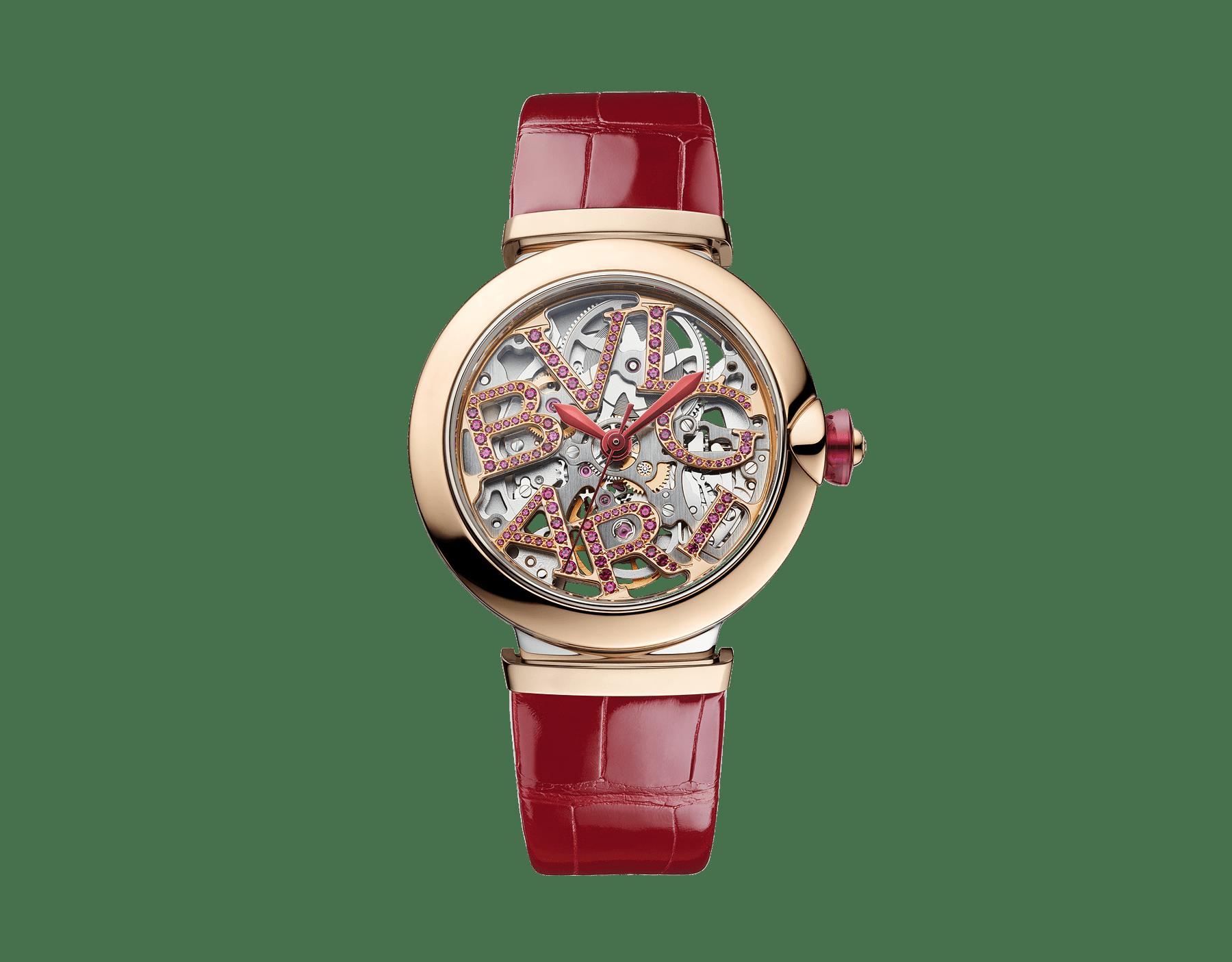 Relógio LVCEA Skeleton com movimento mecânico, corda automática e execução esqueletizada, caixa em aço, bezel em ouro rosa 18K, mostrador com logotipo BVLGARI em aço vazado cravejado com rubis e pulseira em couro de jacaré vermelho 103122 image 1