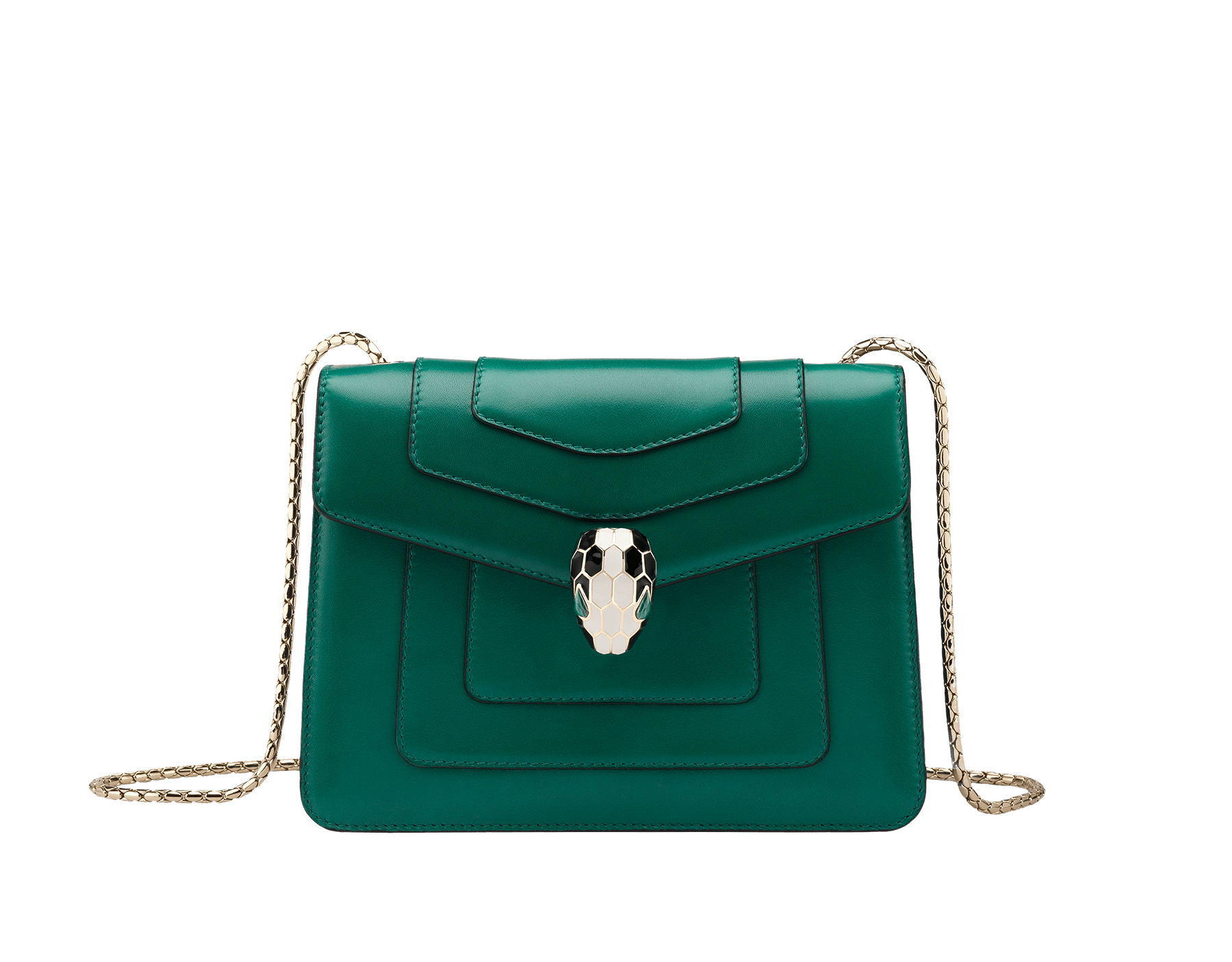 Shoulder bag Serpenti Forever in emerald green calf leather with brass light gold plated Serpenti head closure in black and white enamel with eyes in malachite. 422-CLa image 1