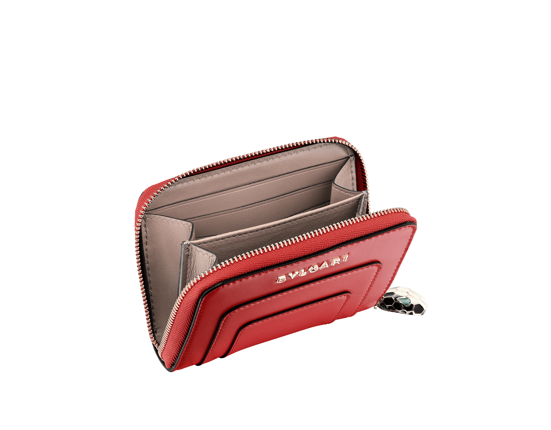 Mini zipped wallet in ruby red and desert quartz calf leather with fuxia nappa lining. Brass light gold plated hardware. Iconic black and white enamel Serpenti head zip puller with green enamel eyes. 281310 image 2