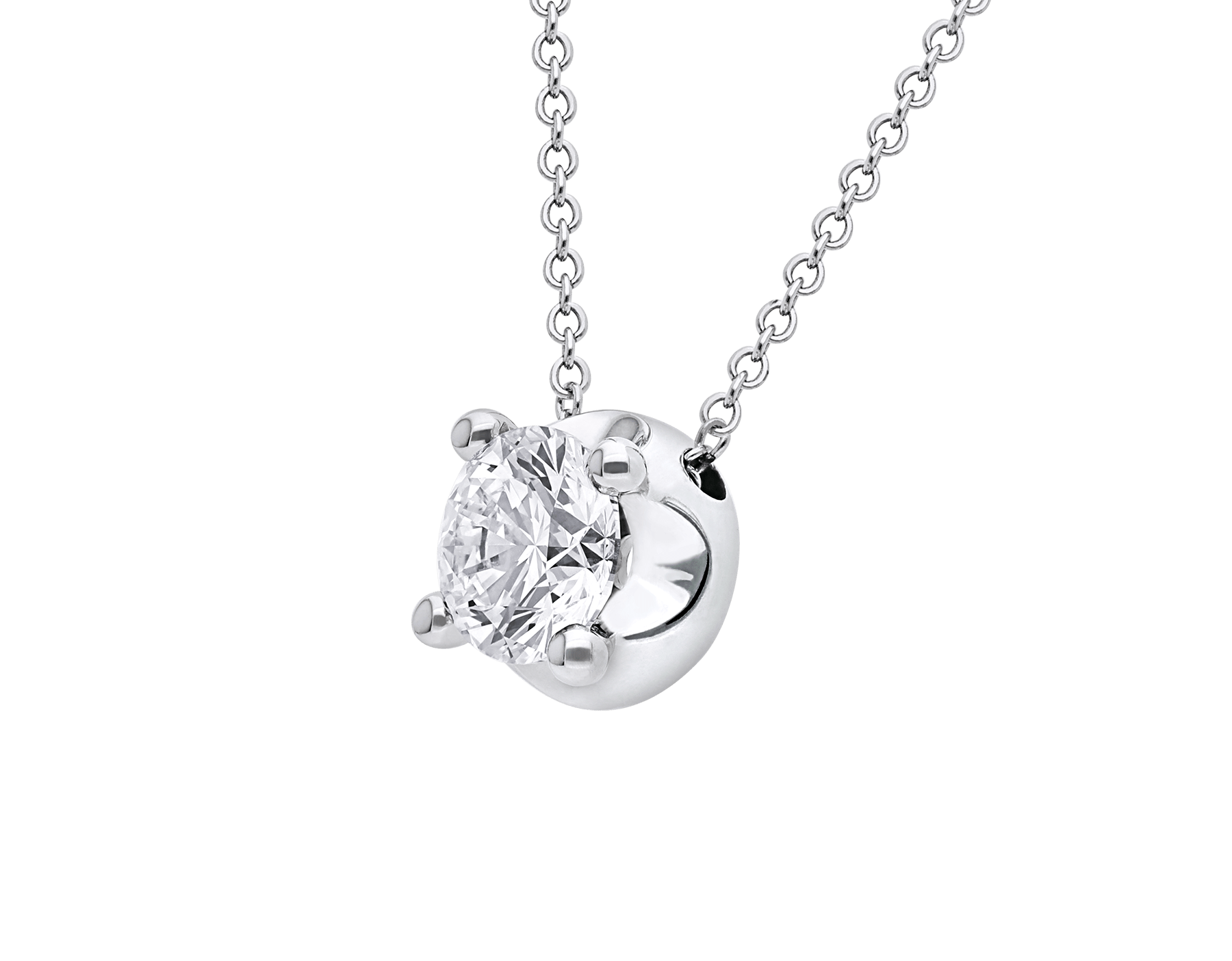Corona necklace with 18 kt white gold chain and 18 kt white gold pendant set with a round brilliant cut diamond CL-CORONA image 3
