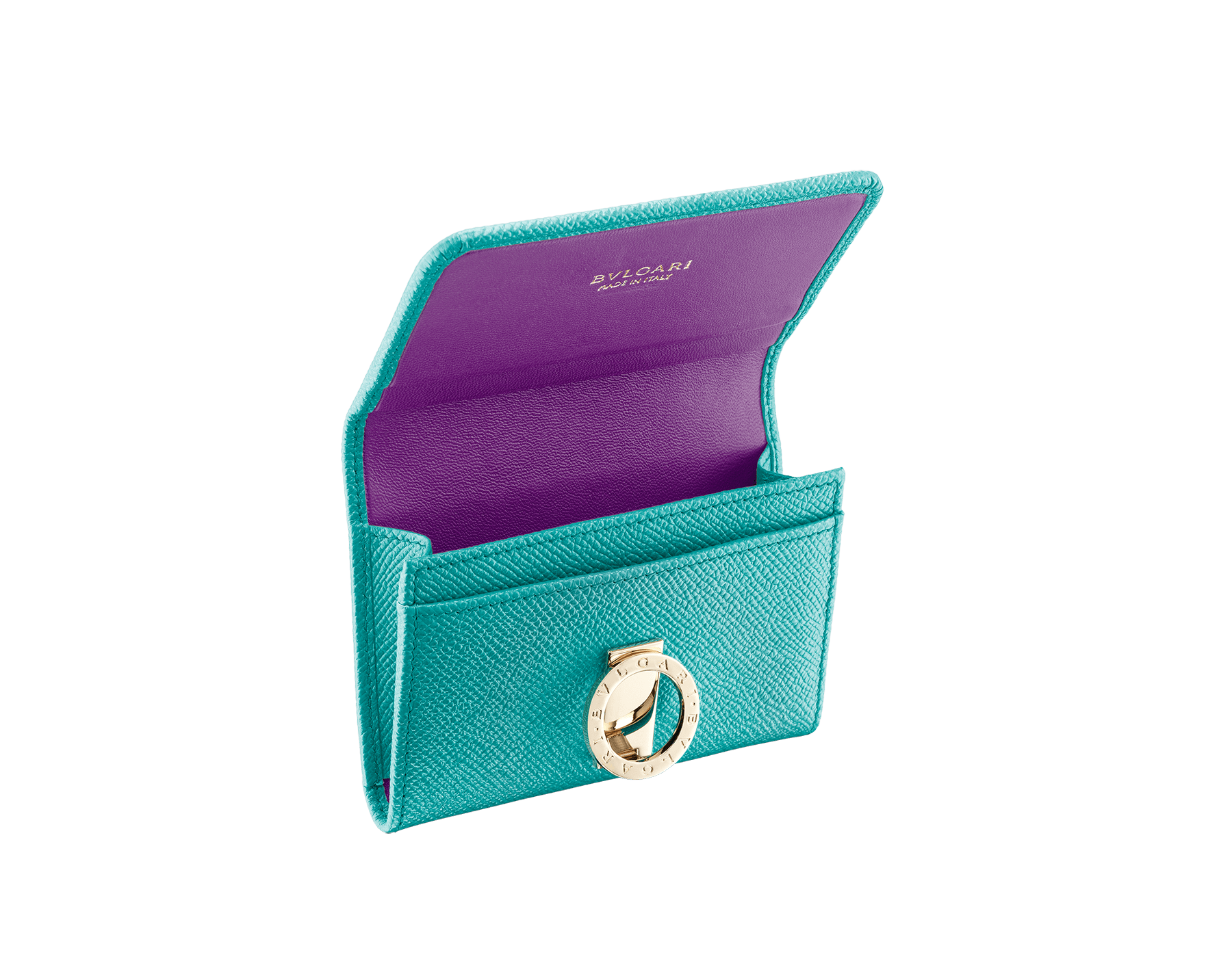 BVLGARI BVLGARI business card holder in arctic jade grain calf leather and grape amethyst nappa leather. Iconic logo closure clip in light gold plated brass. 289037 image 2