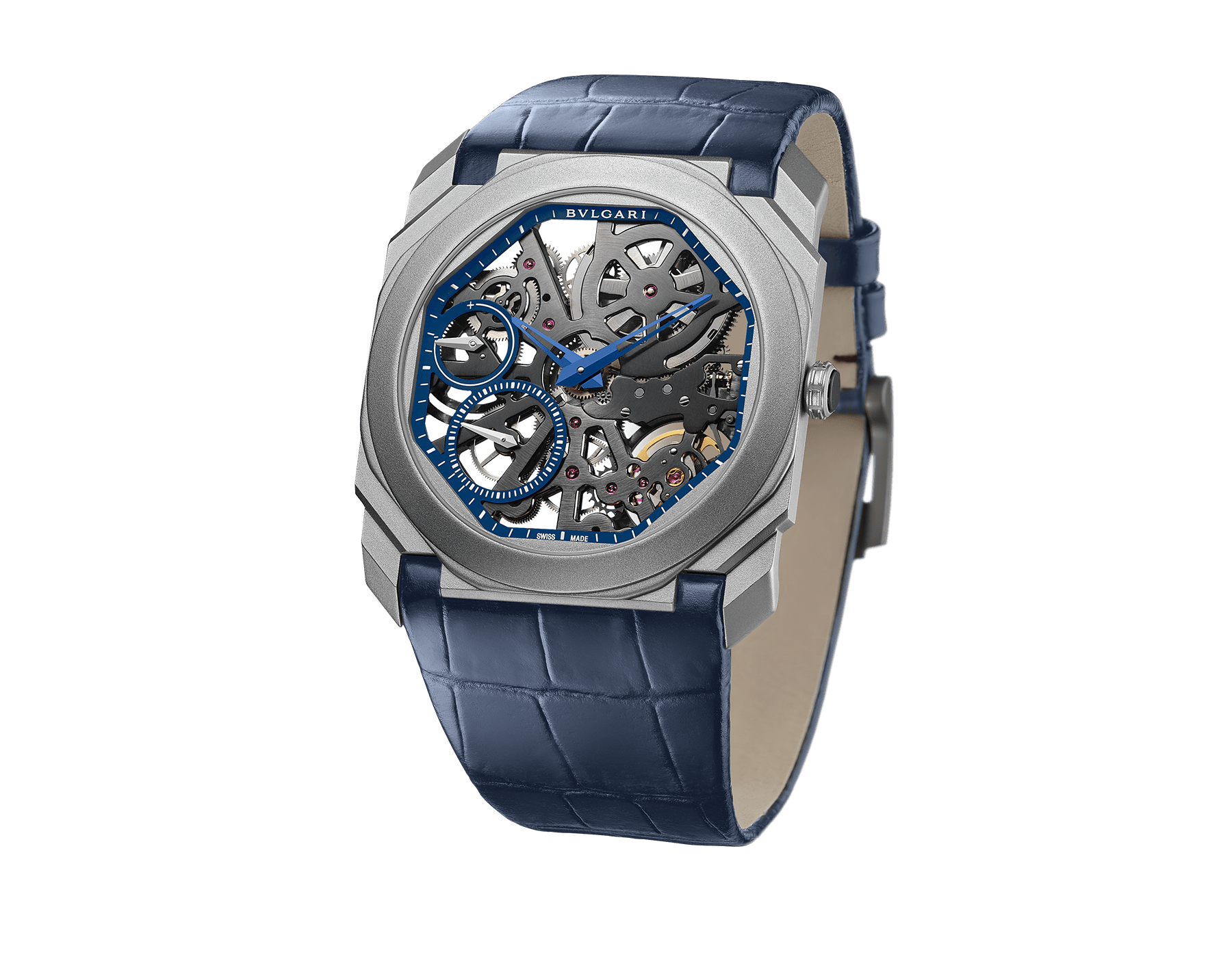 Octo Finissimo Skeleton Limited Edition watch with extra-thin mechanical manufacture movement (2.23mm thick), manual winding, small seconds, power reserve indication, sandblasted titanium case, skeletonized blue dial, blue hands and blue alligator bracelet 102941 image 1