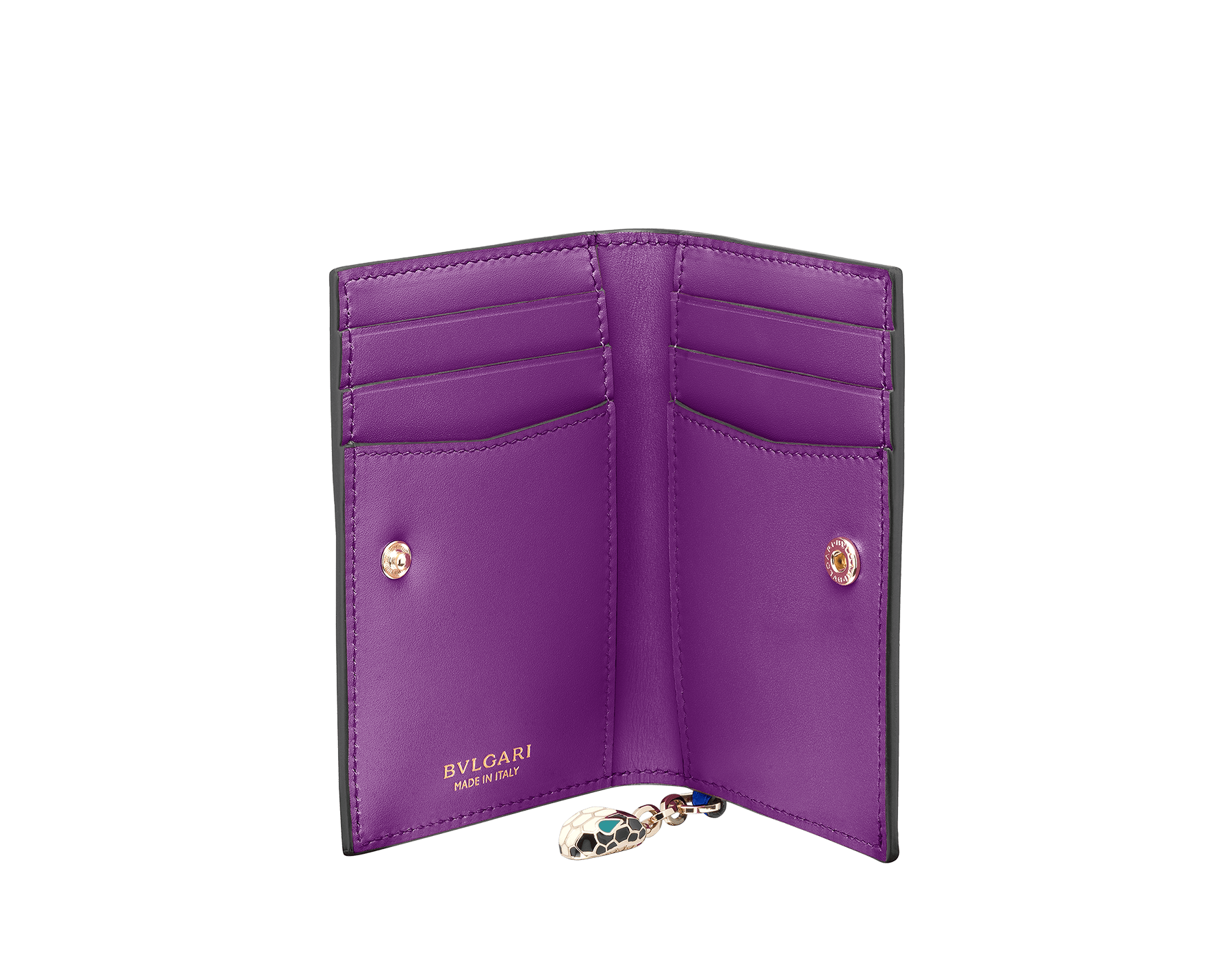 Serpenti Forever folded credit card holder in Roman garnet and pink spinel calf leather. Snakehead charm with black and white enamel, and green malachite enamel eyes. SEA-CC-HOLDER-FOLD-CLc image 2