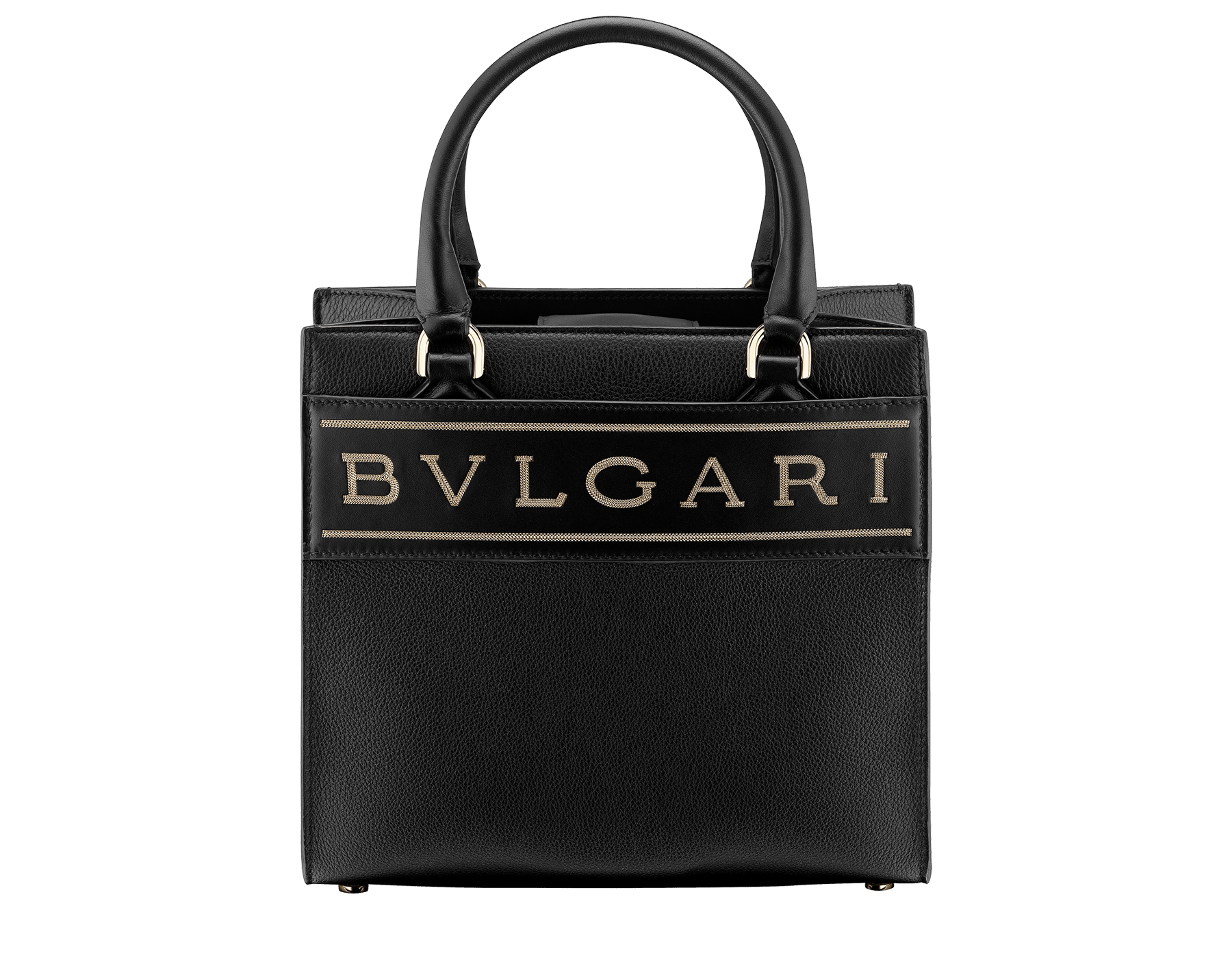 """""""Bvlgari Logo"""" small tote bag in Ivory Opal white calf leather, with Beet Amethyst purple grosgrain inner lining. Bvlgari logo featured with light gold-plated brass chain inserts on the Ivory Opal white calf leather. BVL-1159-CL image 1"""