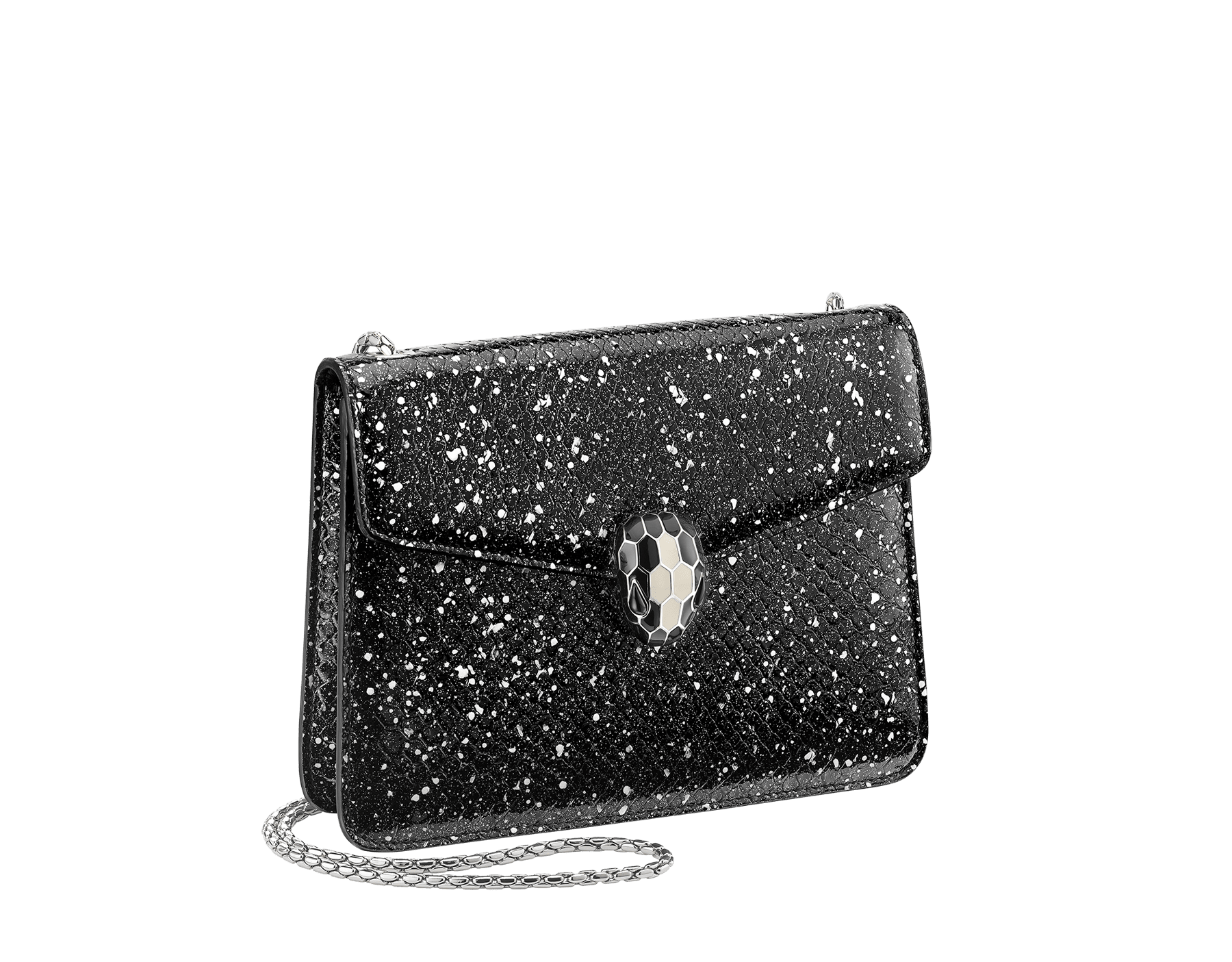Serpenti Forever crossbody bag in black and white Cosmic python skin. Snakehead closure in palladium plated brass decorated with black and white enamel, and black onyx eyes. 288110 image 2