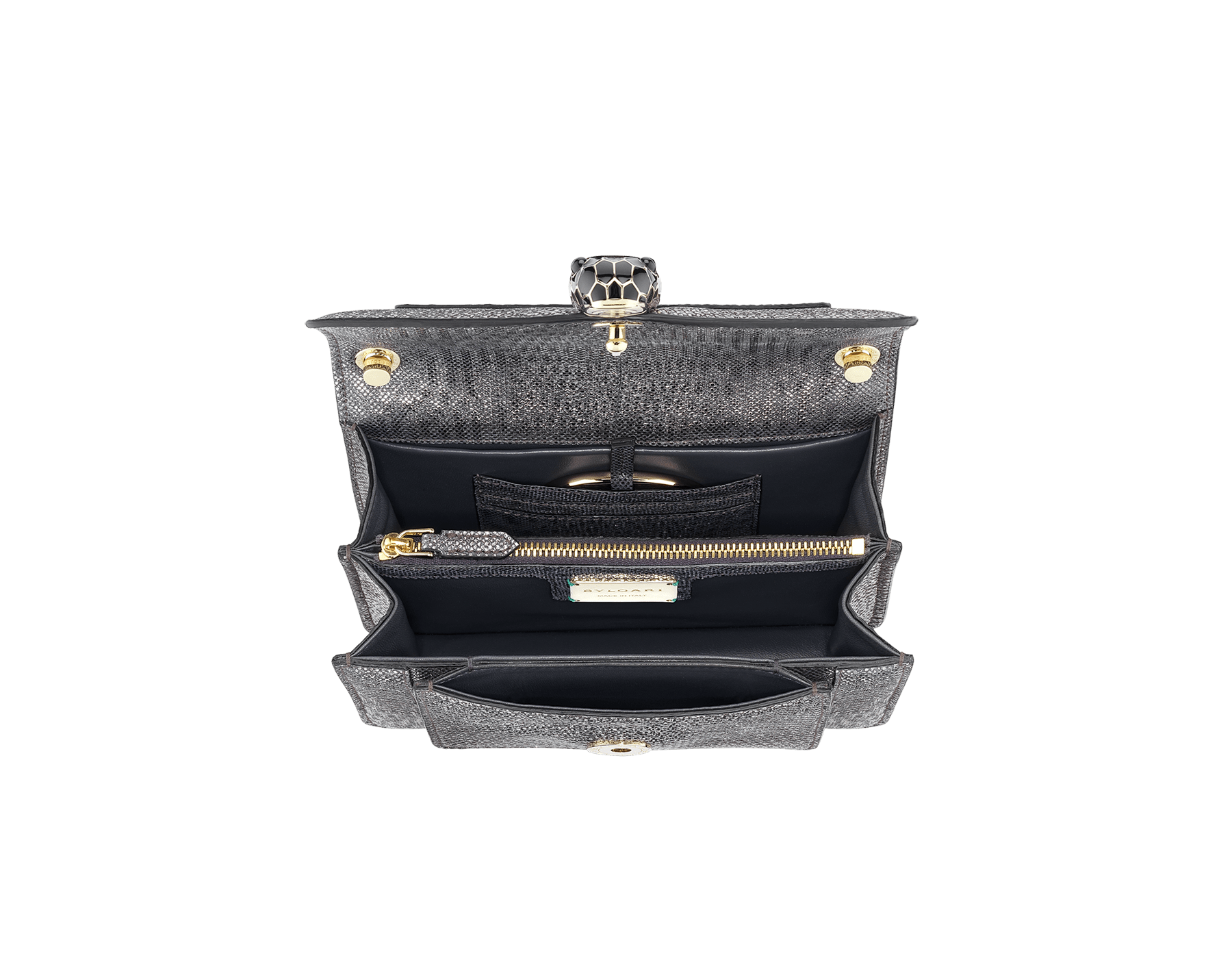 """Serpenti Forever"" crossbody bag in charcoal diamond metallic karung skin. Iconic snakehead closure in light gold plated brass enriched with black and glitter hawk's eye enamel and black onyx eyes. 1082-MK image 4"