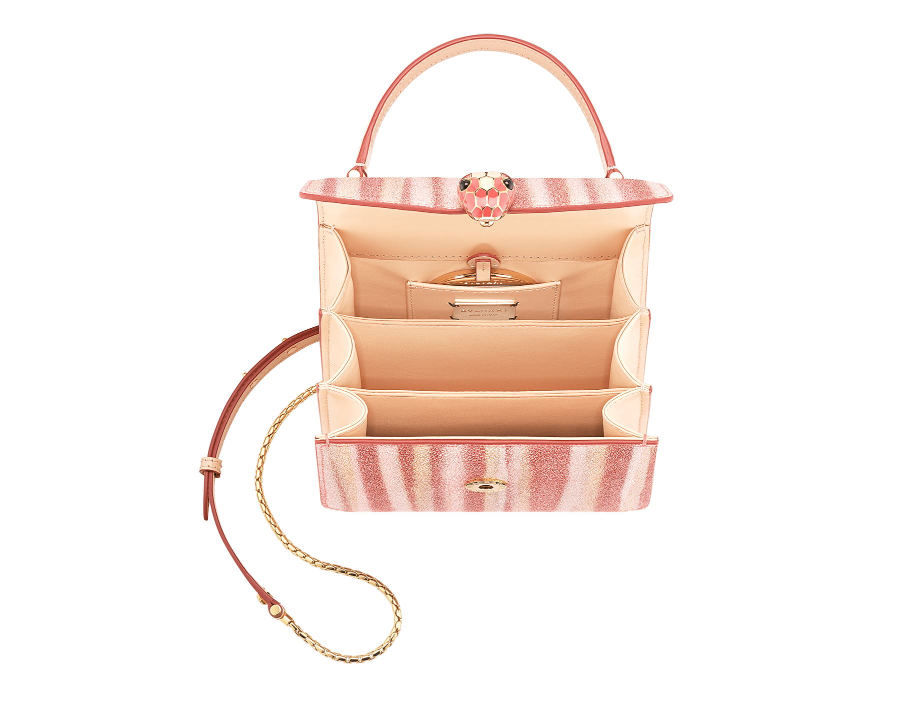 """Serpenti Forever"" crossbody bag in multicolor ""Ministriped"" galuchat skin body and peach calf leather sides, with peach nappa leather internal lining. Tempting snakehead closure in gold plated brass enriched with dark and matte peach enamel and black onyx eyes. 290558 image 2"