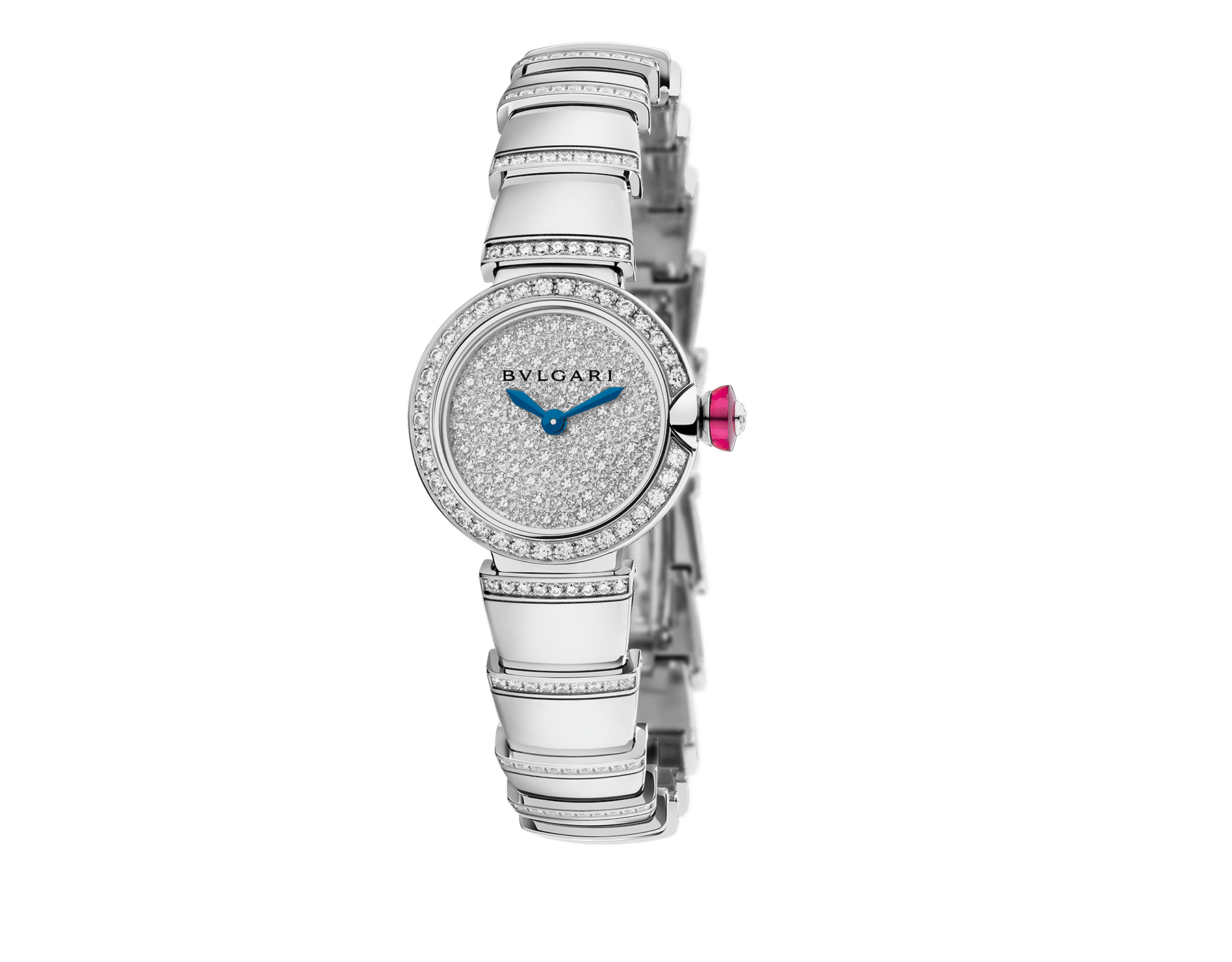 Piccola Lvcea watch in 18kt white gold case and bracelet, both set with brillant cut-diamonds and full pavé diamond dial. 102515 image 1