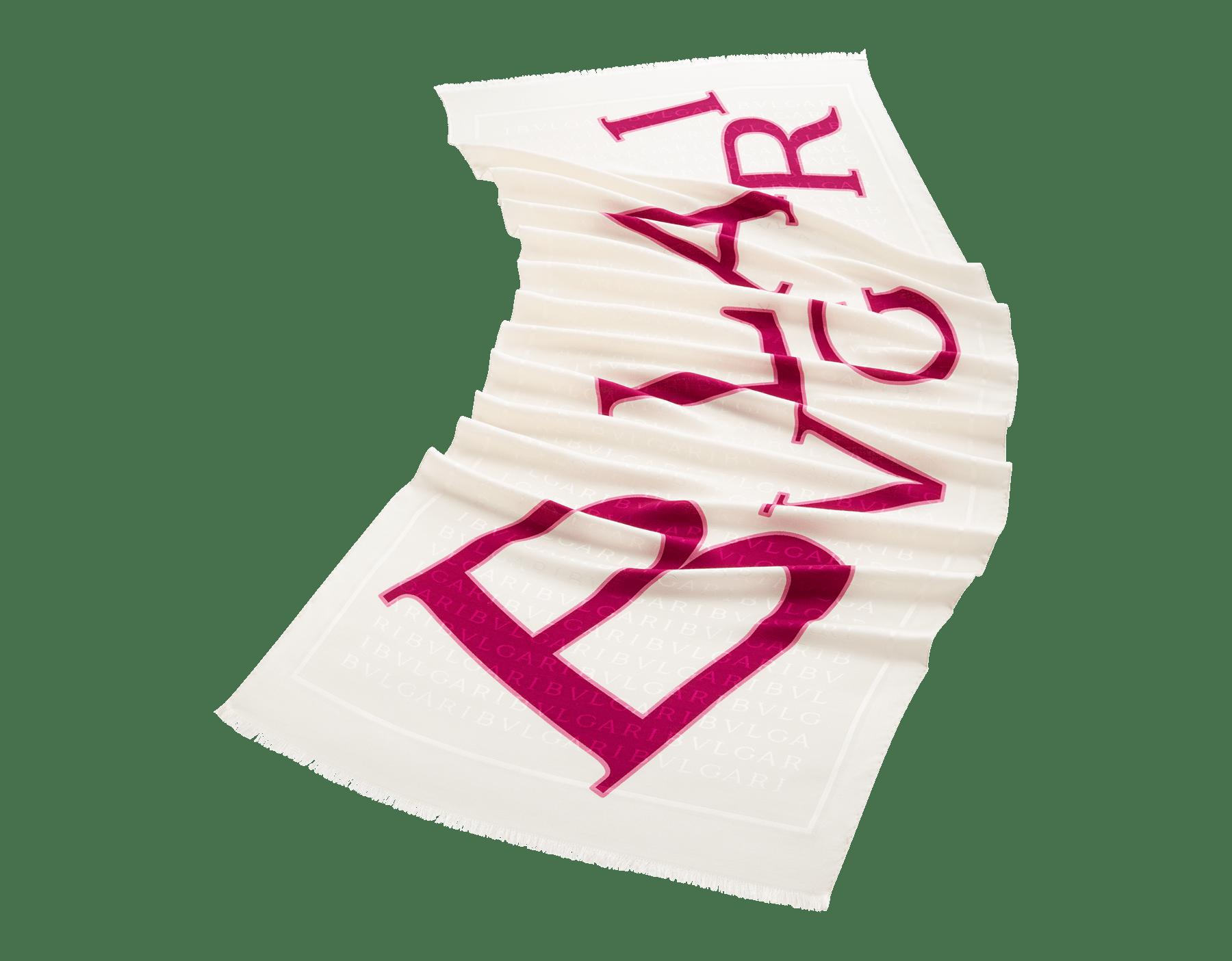 ホワイトのレッテレ ブルガリ ストール。上質なシルクウール製。 244550 image 1