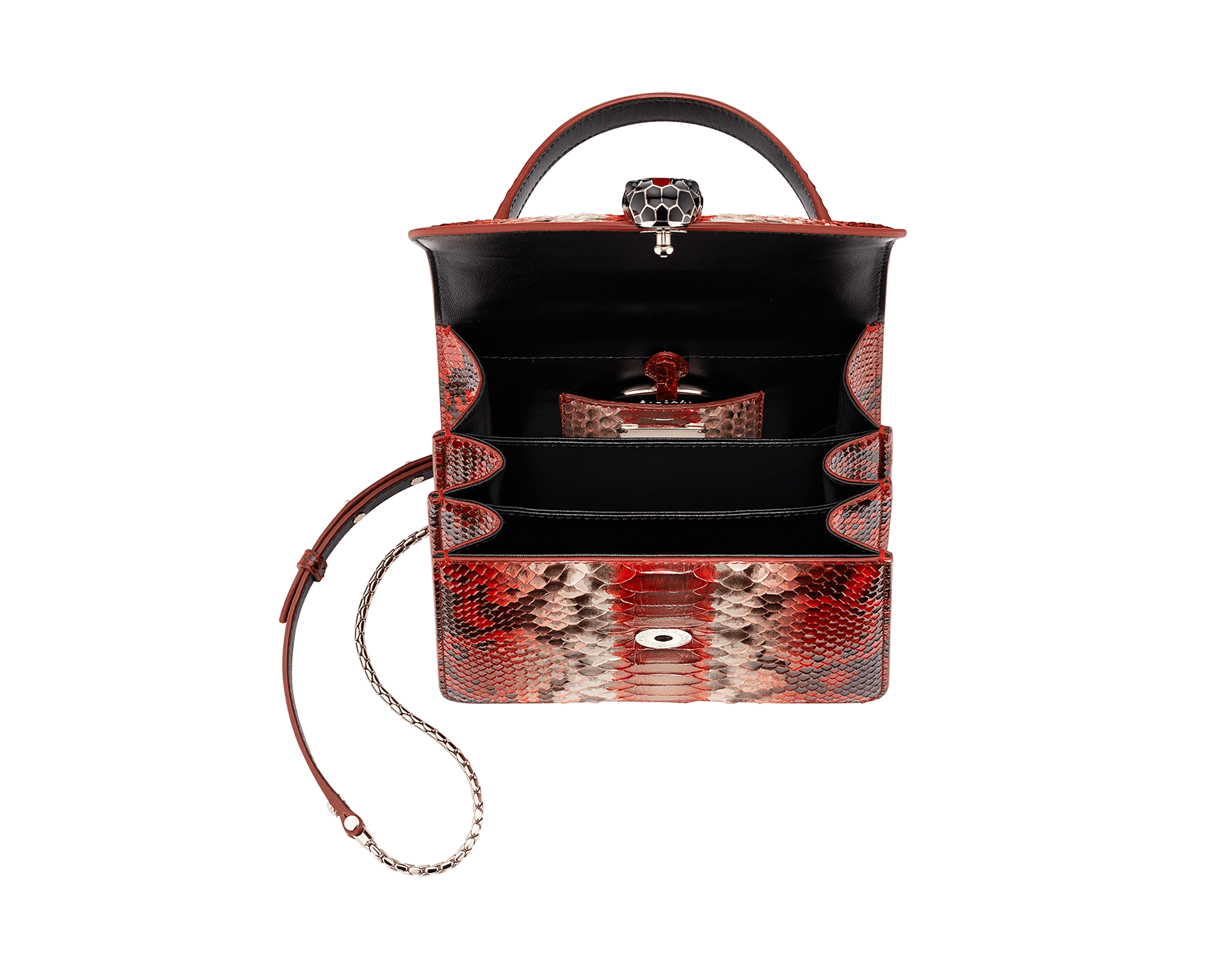 """Serpenti Forever "" crossbody bag in carmine jasper Eclectic"" python skin. Iconic snakehead closure in light gold plated brass enriched with black and carmine jasper enamel and black onyx eyes. 288874 image 4"