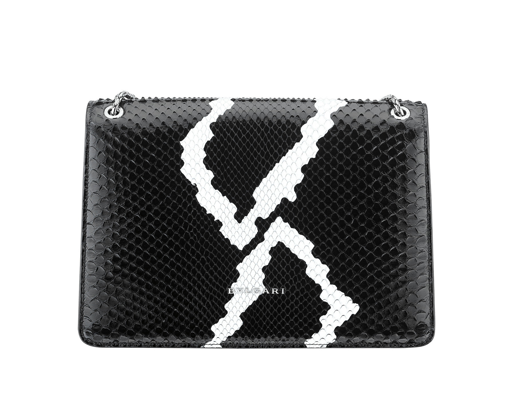 Serpenti Forever shoulder bag in black and white python skin with Whitethunder motif. Snakehead closure in shiny palladium plated brass decorated with black enamel, and black onyx eyes. 521-Pb image 3