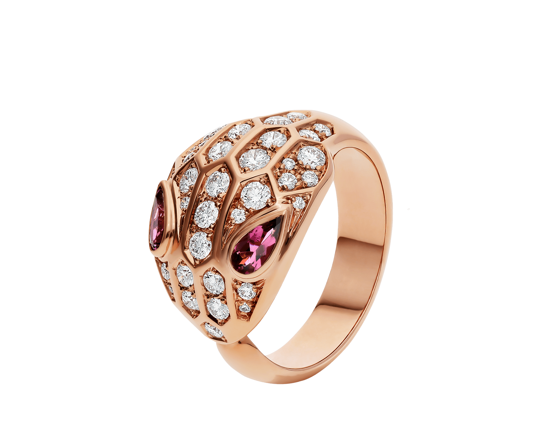 Serpenti ring in 18 kt rose gold, set with rubellite eyes and full pavé diamonds. AN857806 image 1