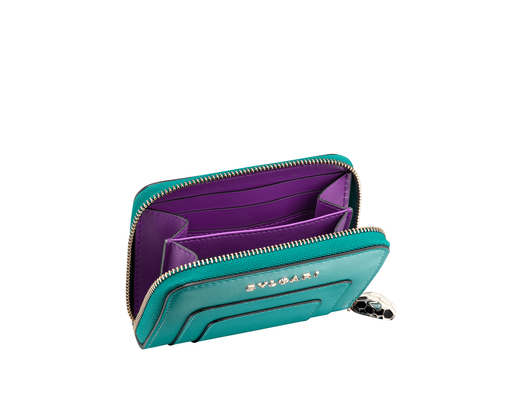 Serpenti Forever mini zipped wallet in arctic jade and grape amethyst calf leather. Iconic snakehead zip puller in black and white enamel with green enamel eyes. 288810 image 2