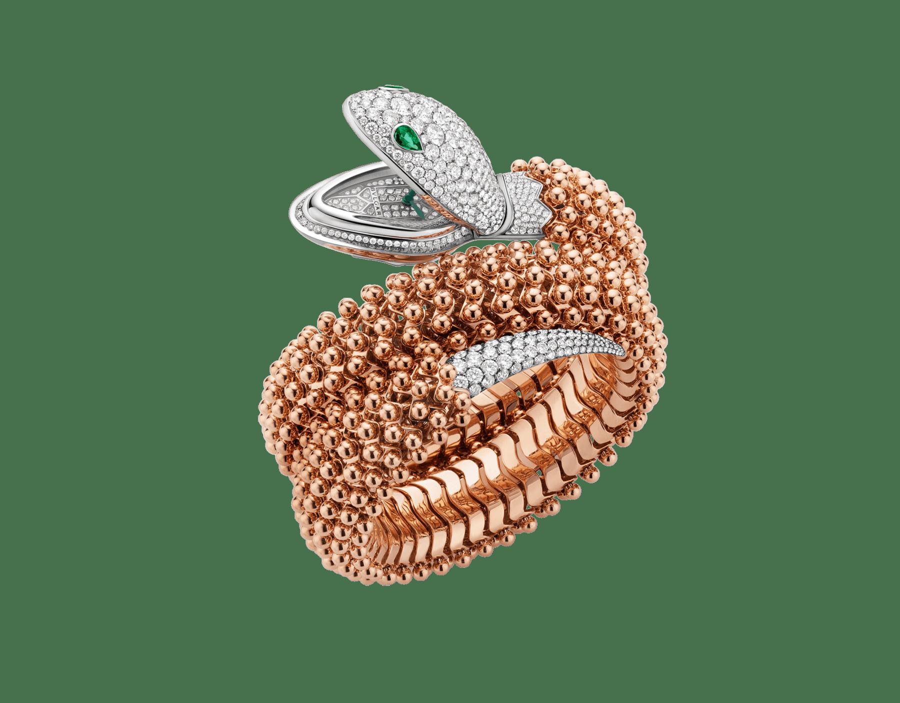 Montre Serpenti Misteriosi Pallini avec tête en or blanc 18K sertie de diamants taille brillant et yeux en émeraude, boîtier en or blanc 18K, cadran en or blanc 18K, queue sertie de diamants taille brillant et bracelet en or rose 18K 102869 image 1