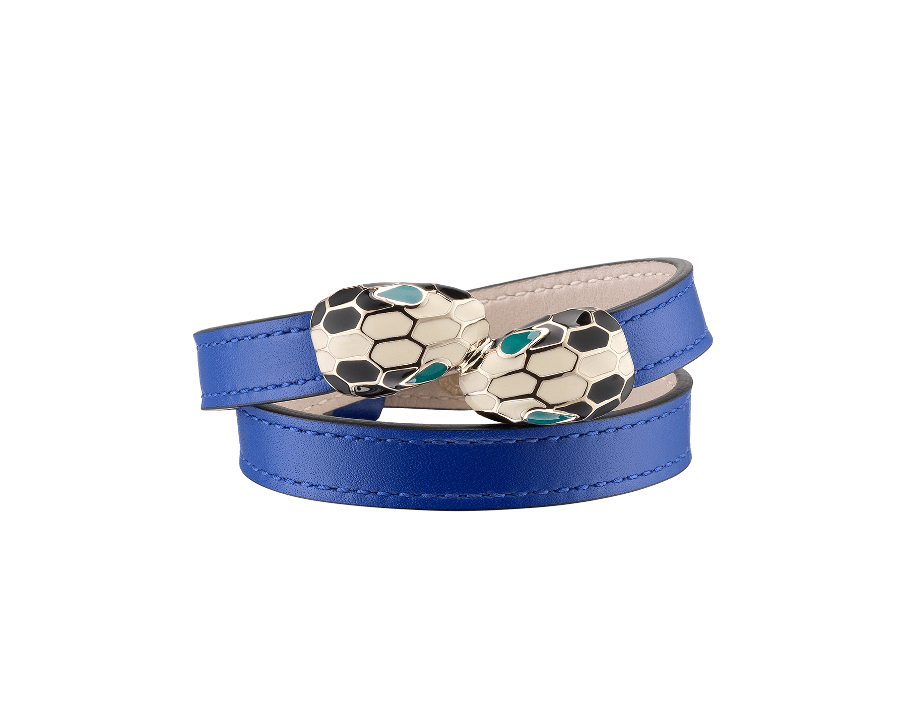 Serpenti Forever multi-coiled bracelet in cobalt tourmaline calf leather, with brass light gold plated hardware. Iconic contraire snakehead décor in black and white enamel, with green enamel eyes MCSerp-CL-CT image 1