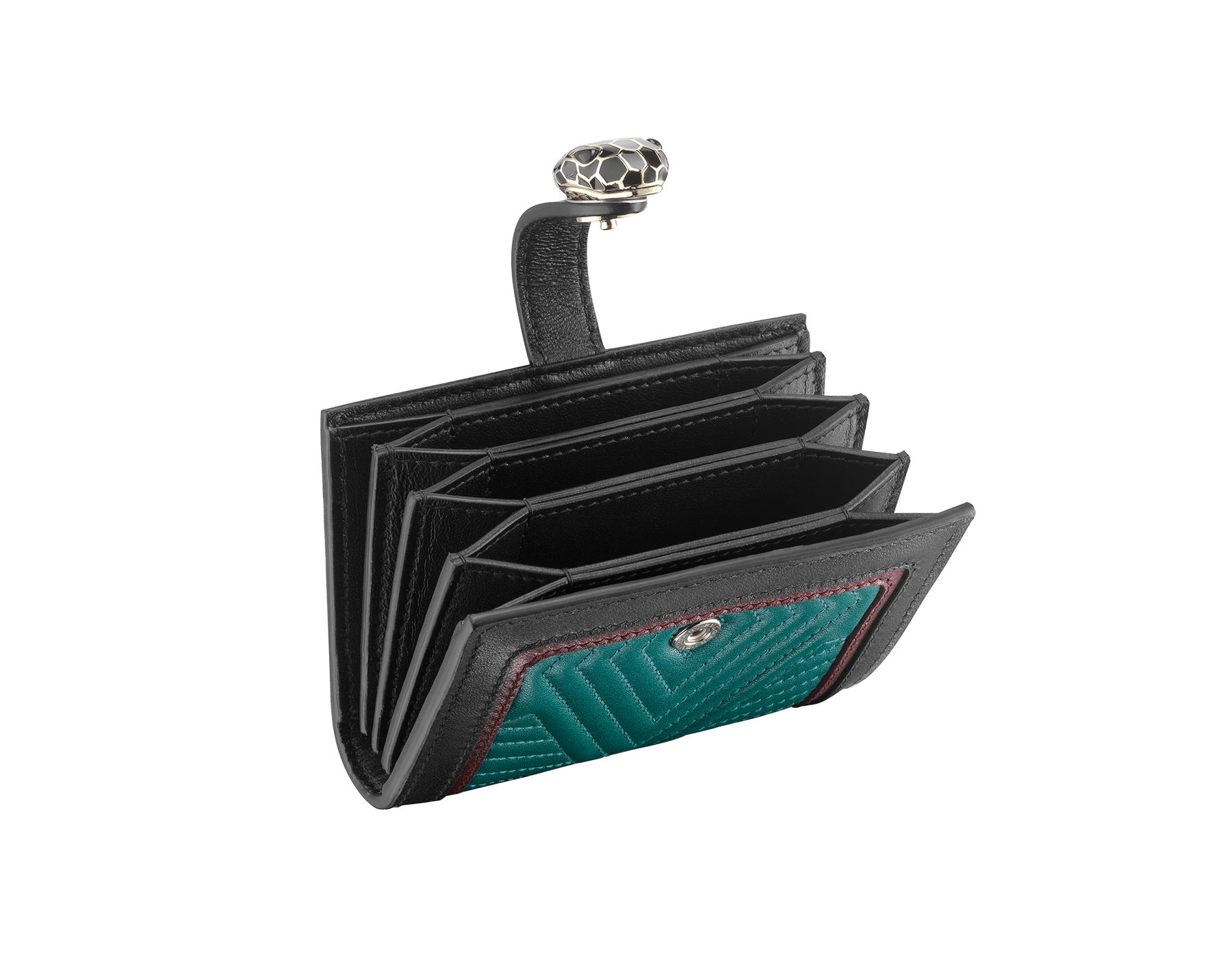 Serpenti Diamond Blast compact credit card holder in deep jade matelassè nappa leather and roman garnet and black calf leather. Iconic snakehead closure in black and deep jade enamel, with black enamel eyes. 288195 image 2