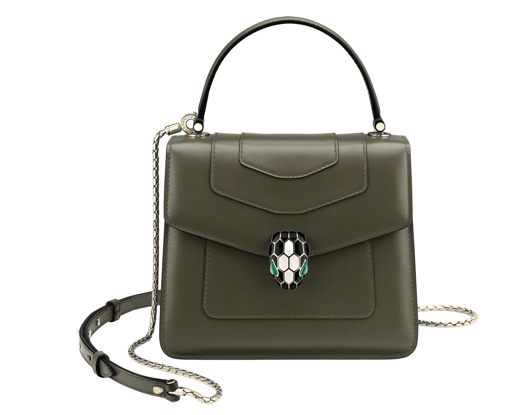 """Serpenti Forever"" crossbody bag in mimetic jade calf leather. Iconic snakehead closure in light gold plated brass enriched with black and white agate enamel and green malachite eyes. 752-CLc image 1"