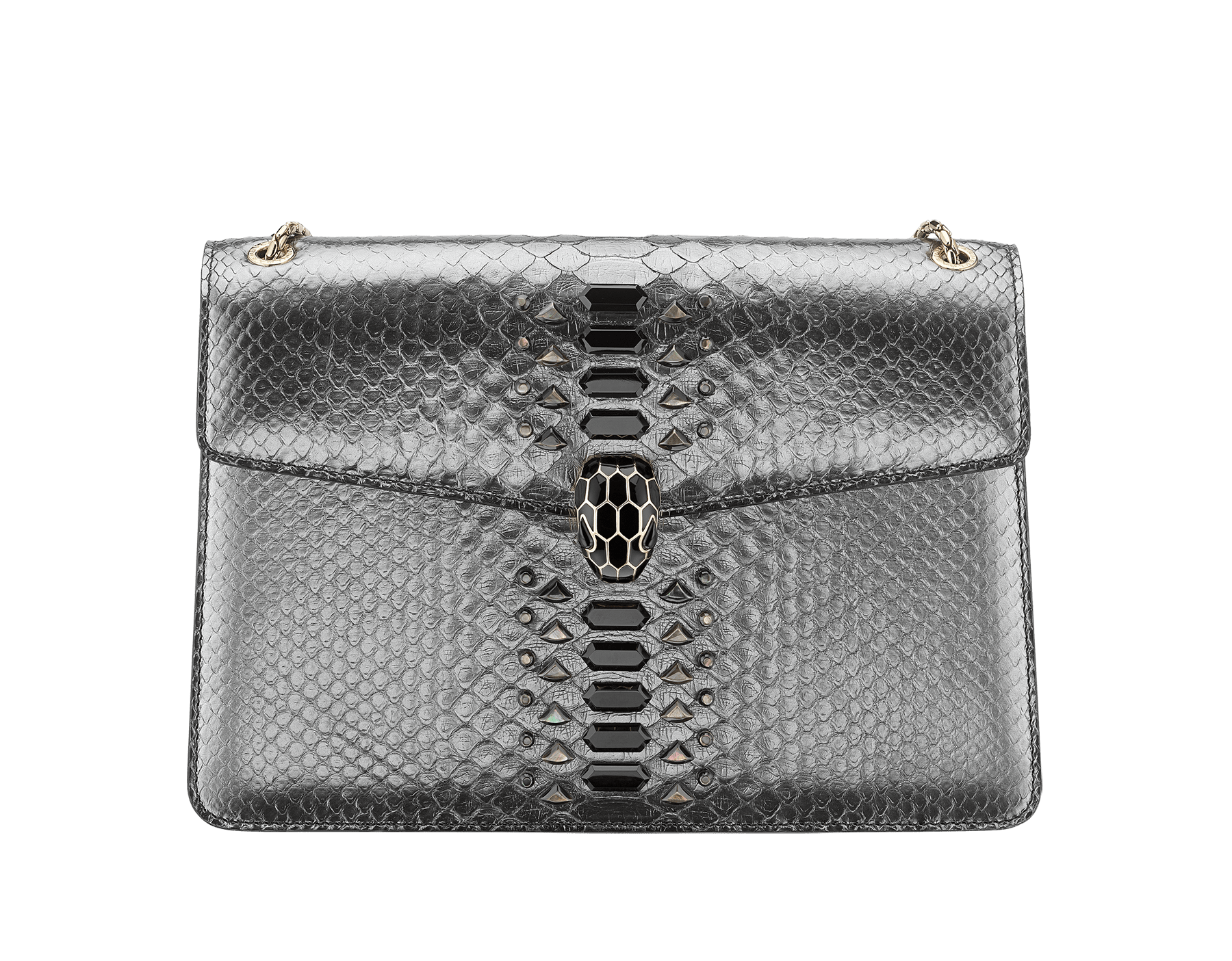 """""""Serpenti Forever"""" shoulder bag black Diamond Glam python skin. Iconic snake head closure in palladium plated brass enriched with black enamel and black onyx eyes. 521-Pc image 1"""