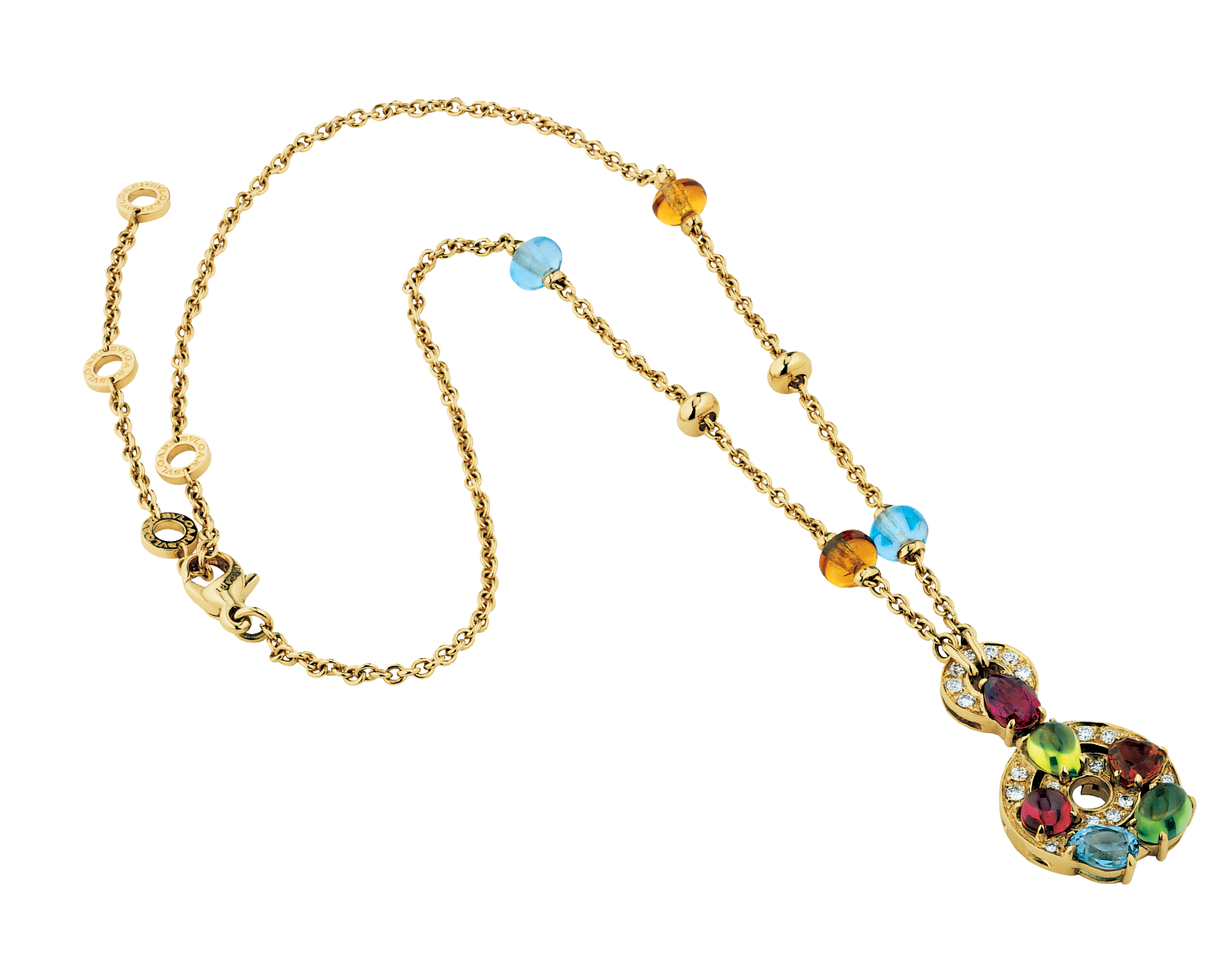 Cerchi 18 kt yellow gold large pendant necklace set with blue topazes, amethysts, green tourmalines, peridots, citrine quartz, rhodolite garnets and pavé diamonds 339139 image 2