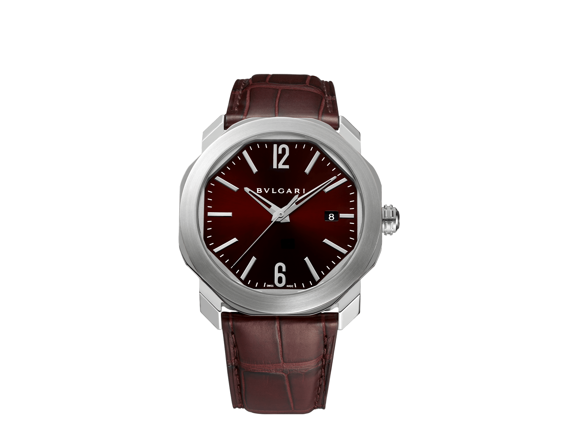 Octo Roma watch with mechanical manufacture movement, automatic winding, stainless steel case, dark brown lacquered dial and brown alligator bracelet. 102705 image 1