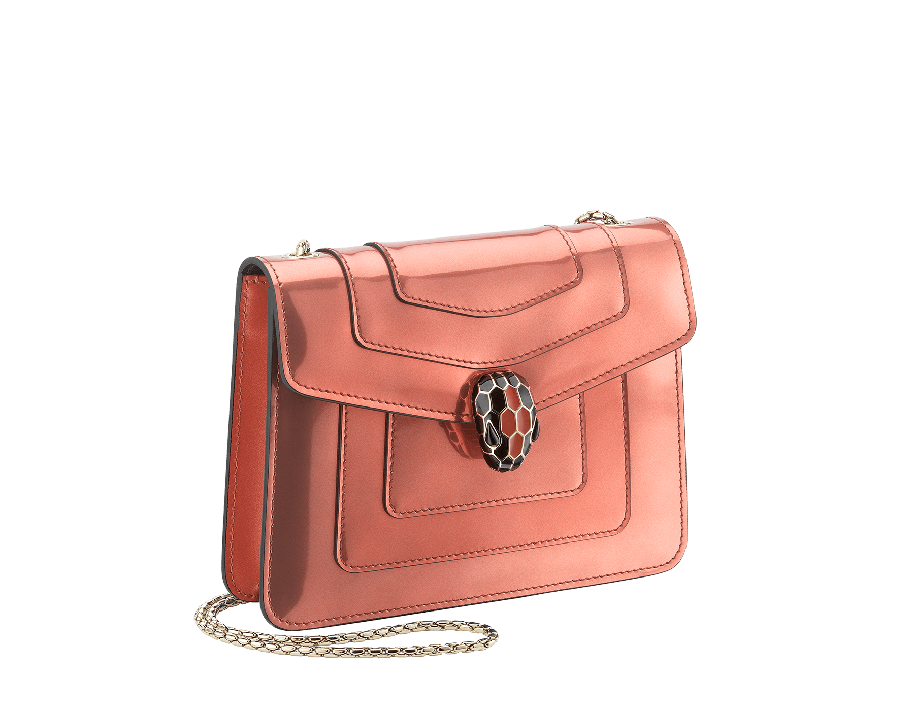 """Serpenti Forever"" crossbody bag in imperial topaz brushed metallic calf leather and tone-on-tone smooth calf leather. Iconic snakehead closure in light gold plated brass embellished with black and imperial topaz enamel and black onyx eyes. 288886 image 2"