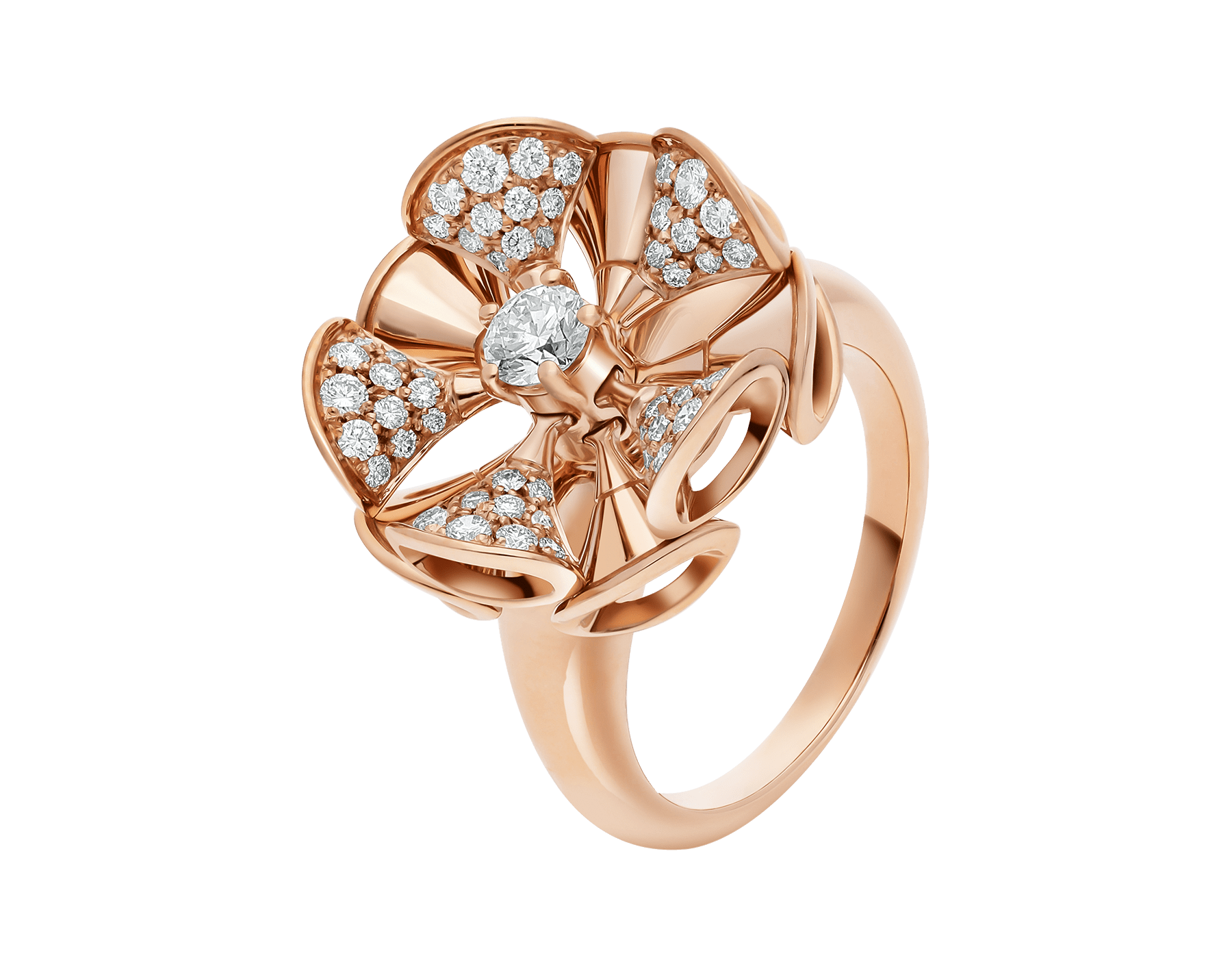 La bague DIVAS' DREAM règne en reine sur le jardin du glamour en se parant d'or rose et de pétales en pavé diamants à l'élégance florale. AN857078 image 1