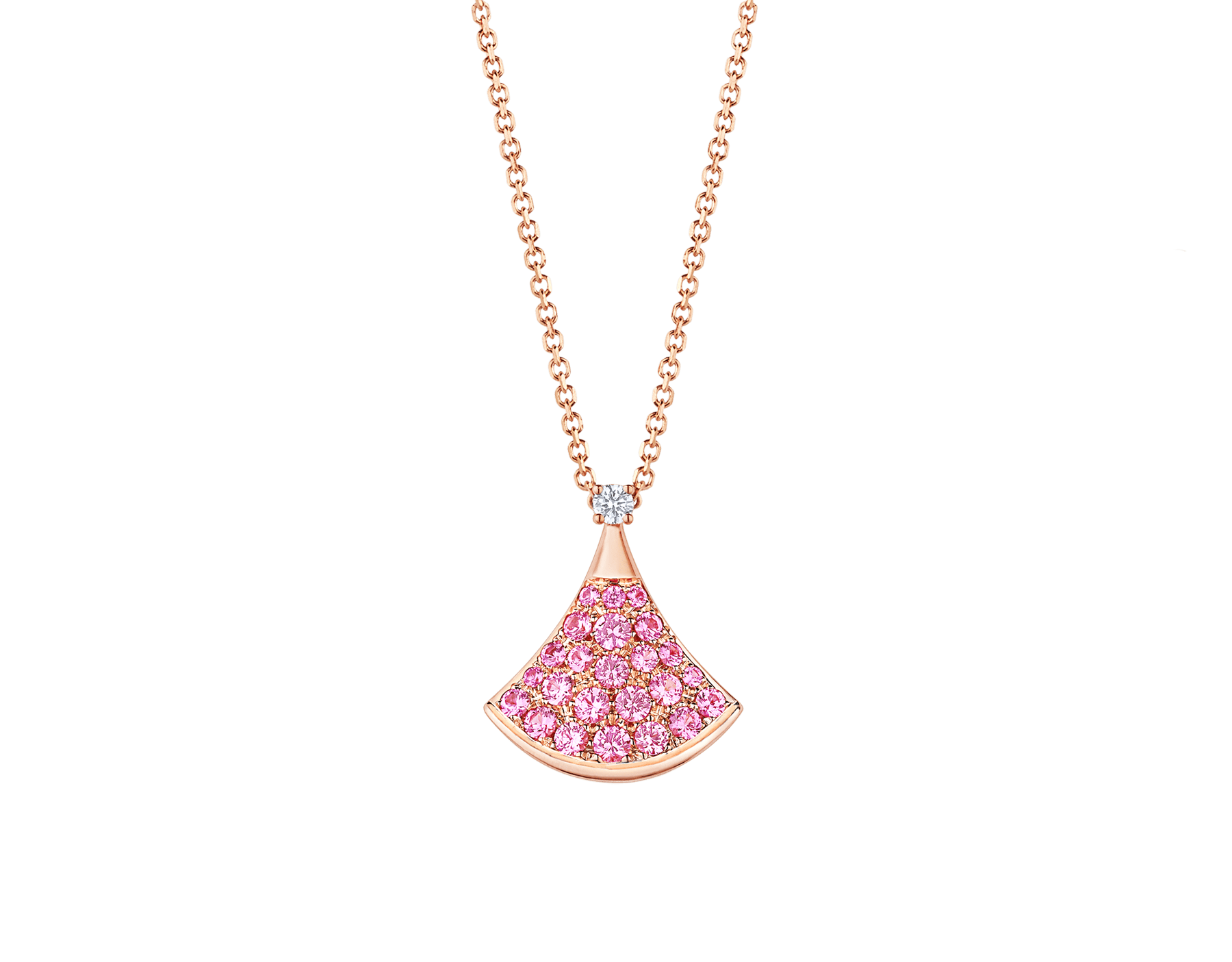 Collier DIVAS' DREAM en or rose 18 K avec pendentif en or rose 18 K serti d'un diamant (0,03 ct) et pavé saphirs roses (0,55 ct) 355889 image 1
