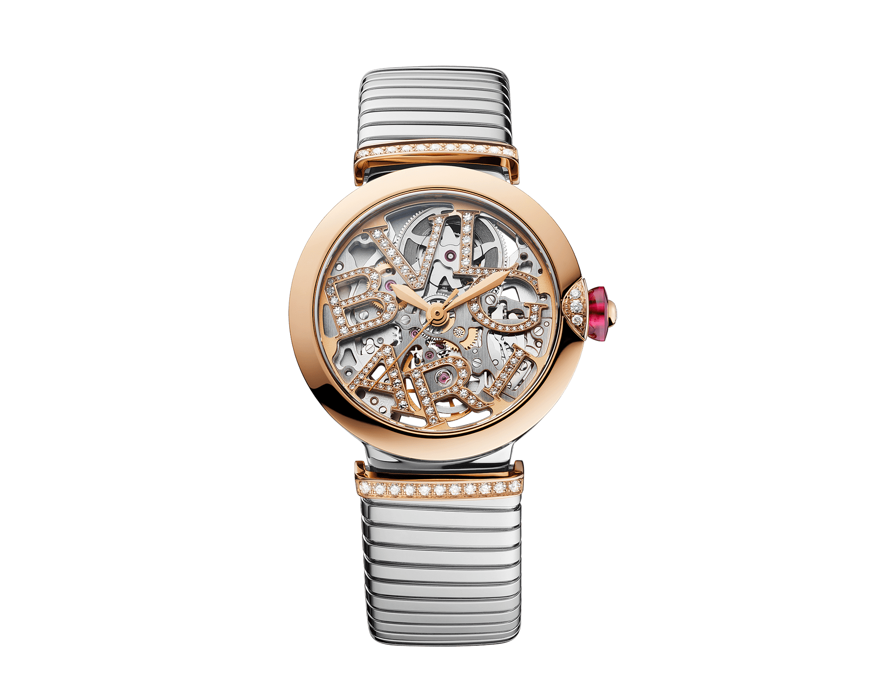 LVCEA Skeleton watch with mechanical movement, automatic winding, stainless steel case, 18 kt rose gold bezel with diamond detail, 18 kt rose gold openwork BVLGARI logo dial and links both set with round brilliant-cut diamonds, and stainless steel tubogas bracelet 103093 image 1