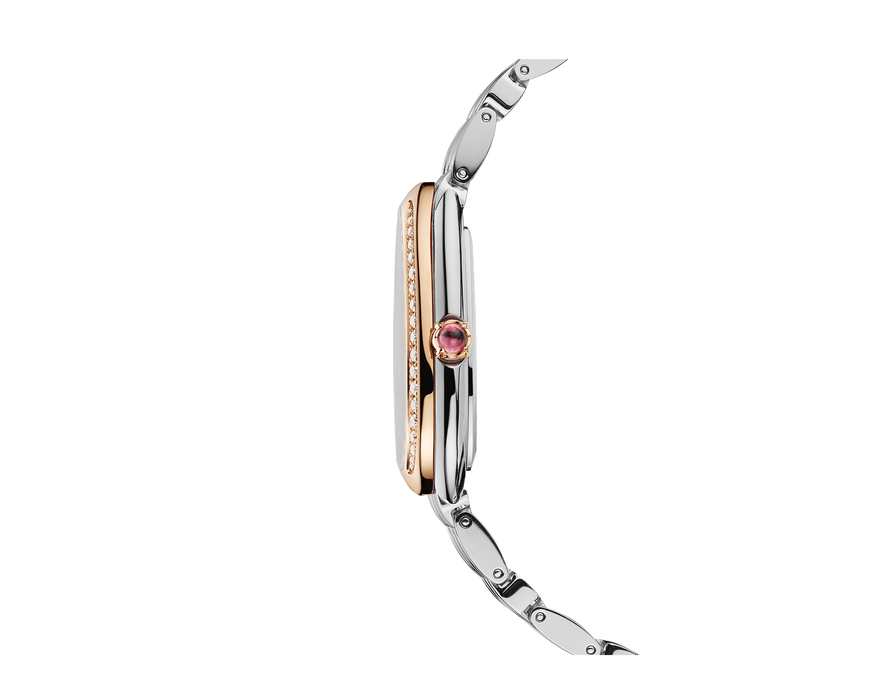 Serpenti Seduttori watch with stainless steel case, stainless steel bracelet, 18 kt rose gold bezel set with diamonds and a white silver opaline dial. 103143 image 3