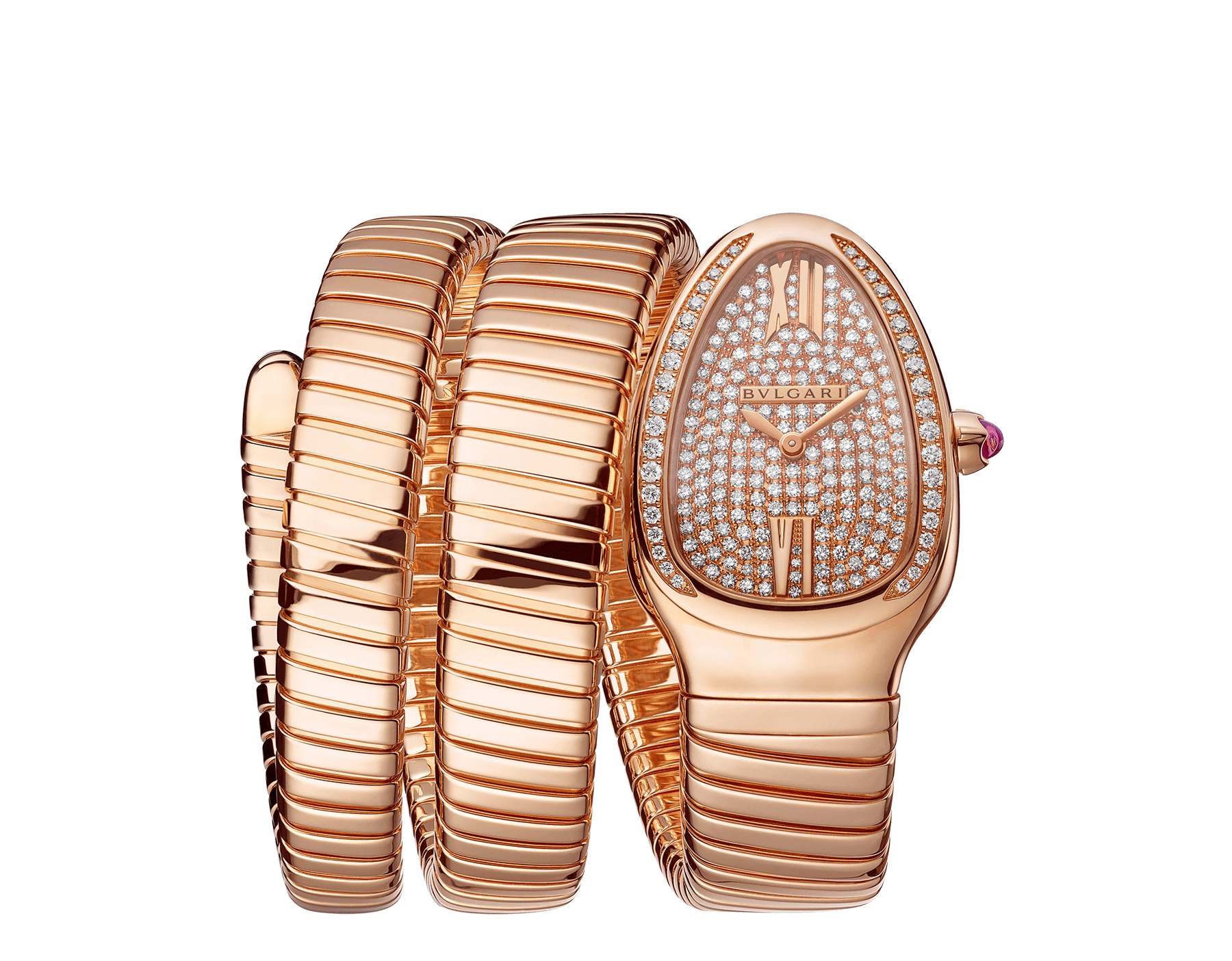 Serpenti Tubogas double spiral watch with 18 kt rose gold case set with brilliant cut diamonds, 18 kt rose gold dial set with full pavé brilliant cut diamonds and 18 kt rose gold bracelet. 101956 image 1