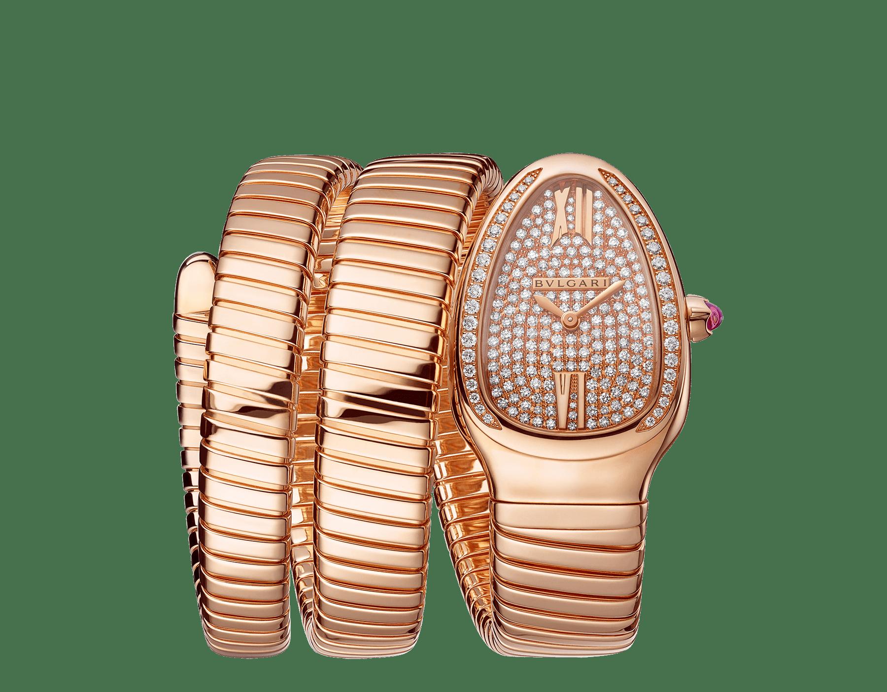 Reloj Serpenti Tubogas de dos vueltas con caja en oro rosa de 18qt con diamantes talla brillante engastados, esfera en oro rosa de 18qt con engaste integral de diamantes talla brillante y brazalete en oro rosa de 18qt. 101956 image 1