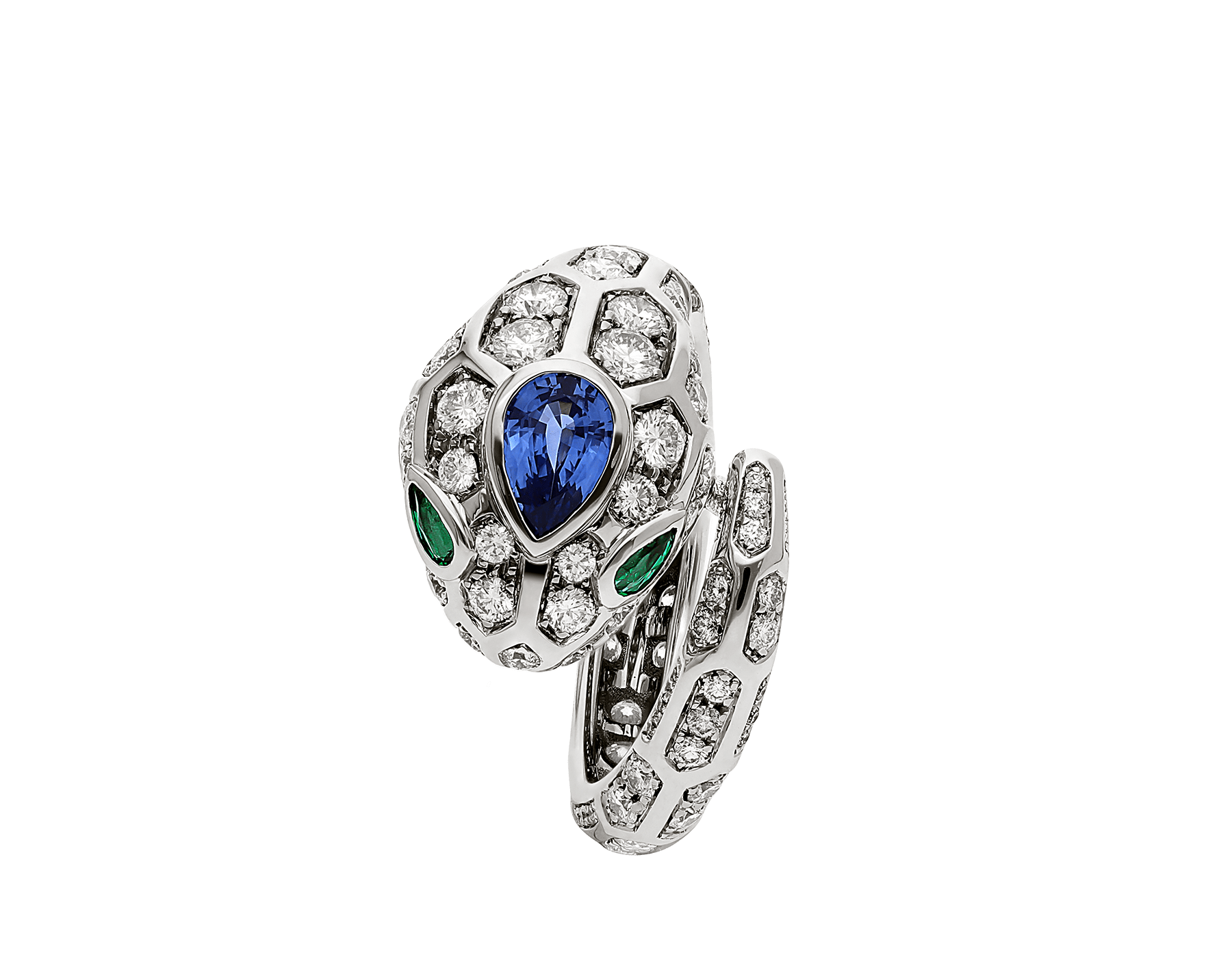 Serpenti 18 kt white gold ring set with a blue sapphire on the head, emerald eyes and pavé diamonds AN858337 image 2