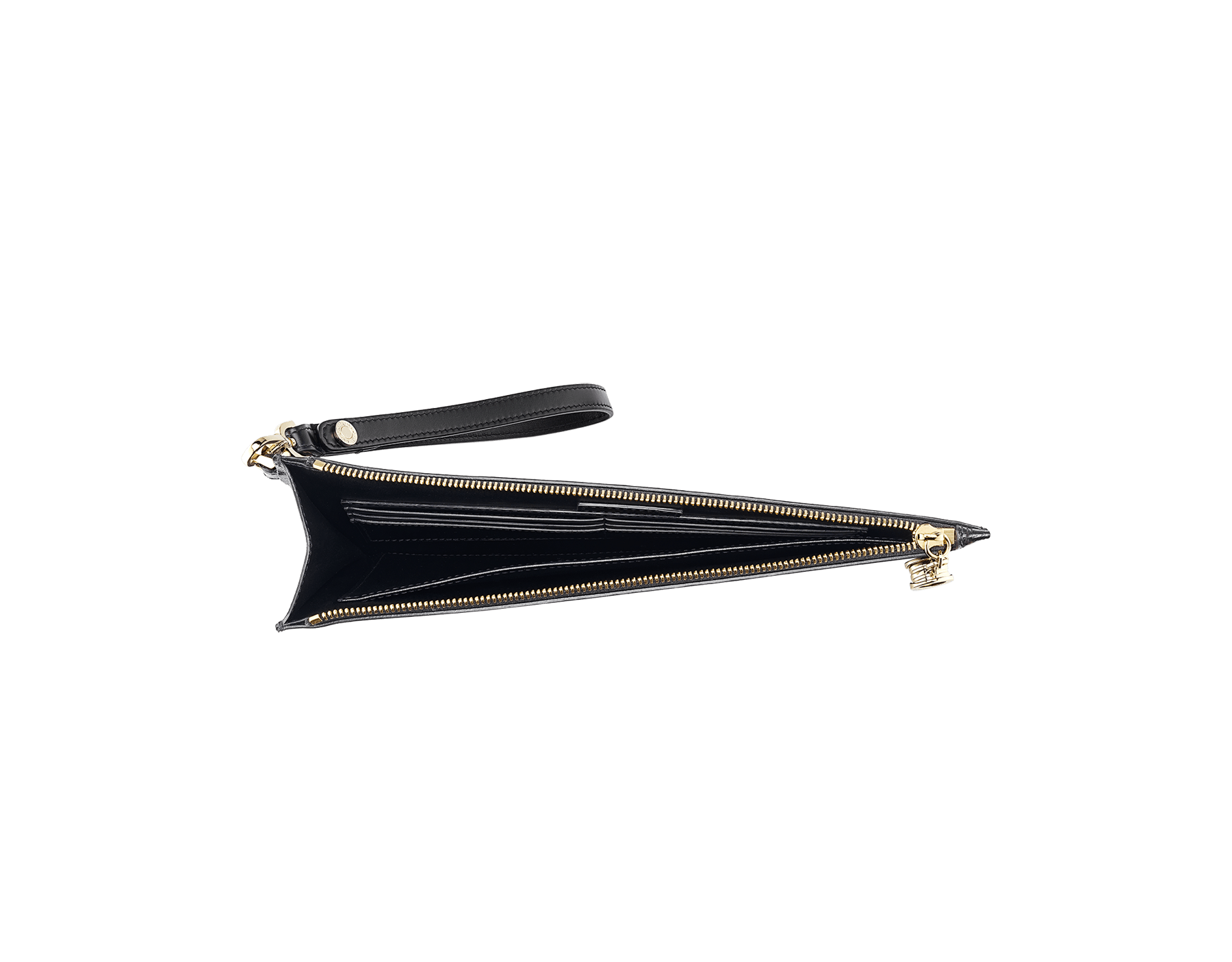 """""""B.ZERO1"""" large pochette in black and white agate goatskin and black nappa leather. Zipped closure with the iconic B.ZERO1 charm in light gold plated brass. BZA-ZIPPOCHETTEL image 2"""