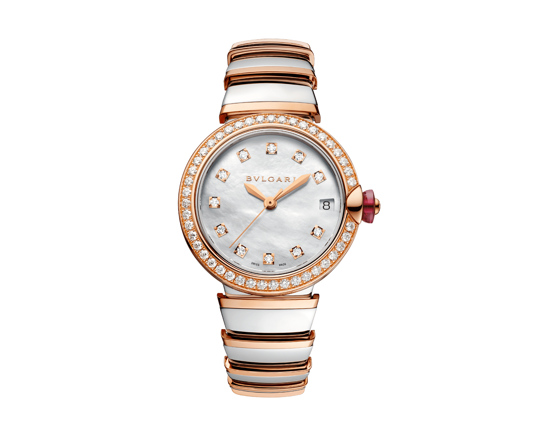 LVCEA watch in 18kt rose gold and stainless steel case and bracelet, set with diamonds on the bezel, and white mother-of-pearl dial with diamond indexes. 102476 image 1