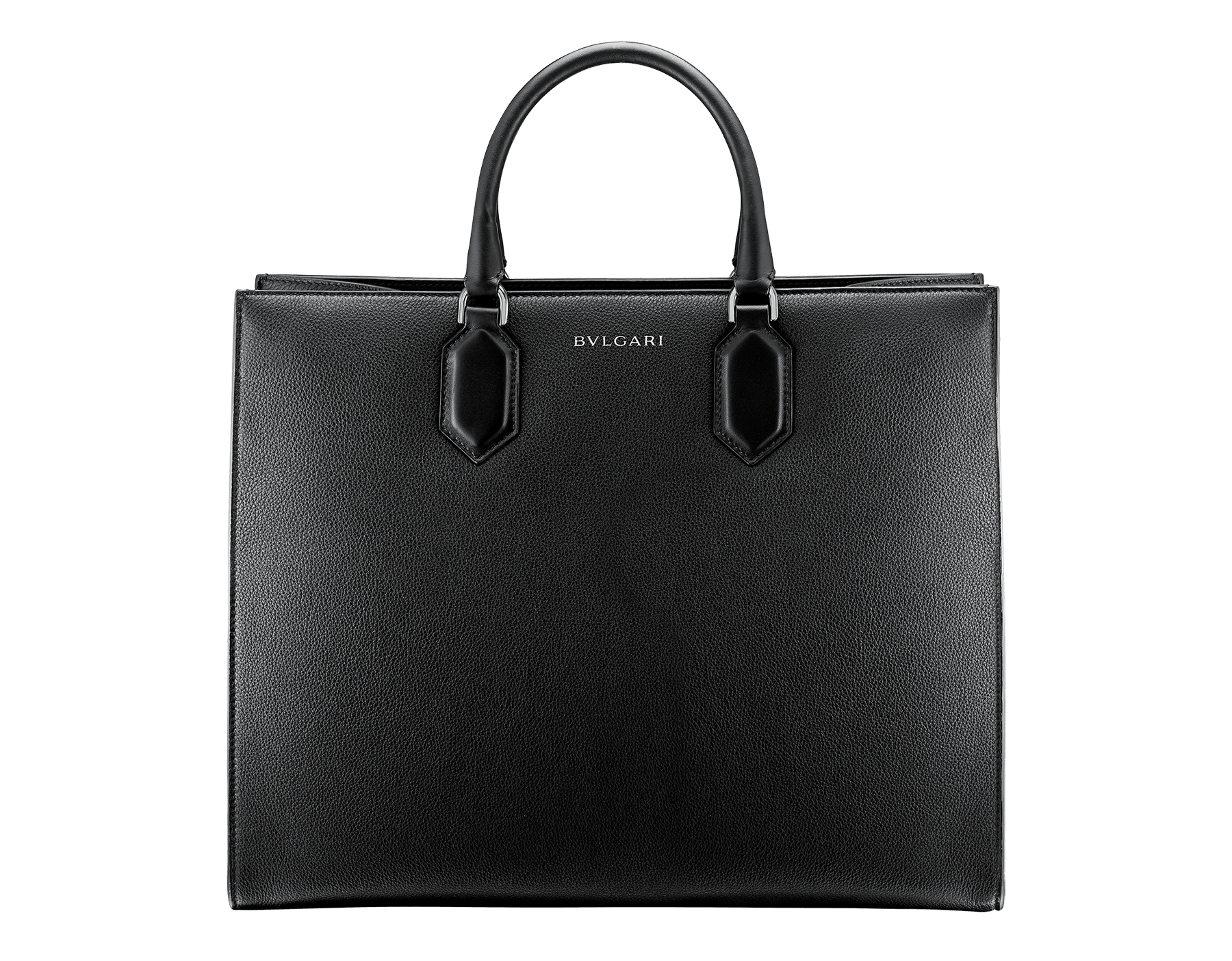 """Bvlgari Logo"" large tote bag in black calf leather, with black grosgrain inner lining. Bvlgari logo featured with dark ruthenium-plated brass chain inserts on the black calf leather. BVL-1160 image 3"