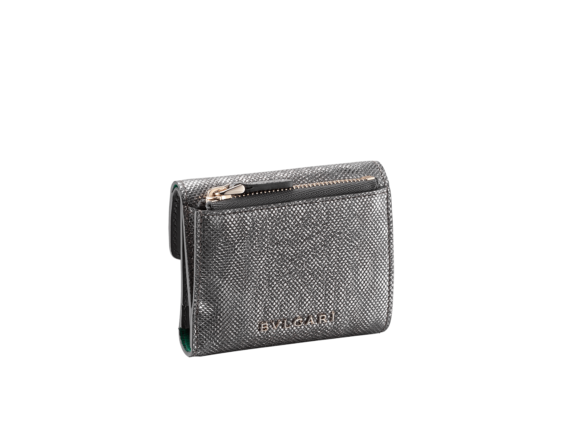 """Serpenti Forever"" slim compact wallet in mint metallic karung skin and black calf leather. Iconic light gold plated brass snakehead stud closure in black and white agate enamel, with black onyx eyes. SEA-SLIMCOMPACT-MK image 3"