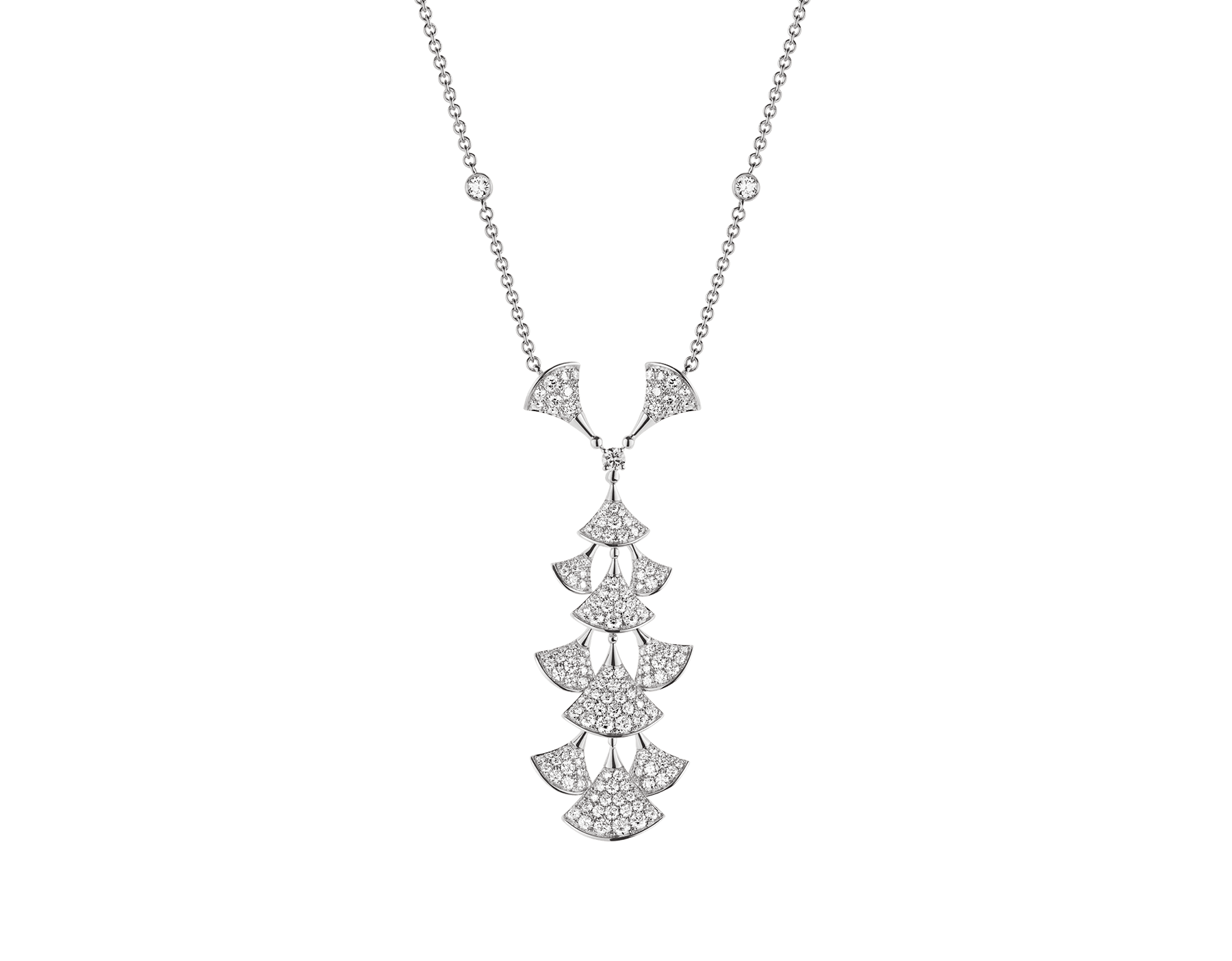 DIVAS' DREAM 18 kt white gold necklace set with diamonds and full pavé diamonds. 352608 image 1