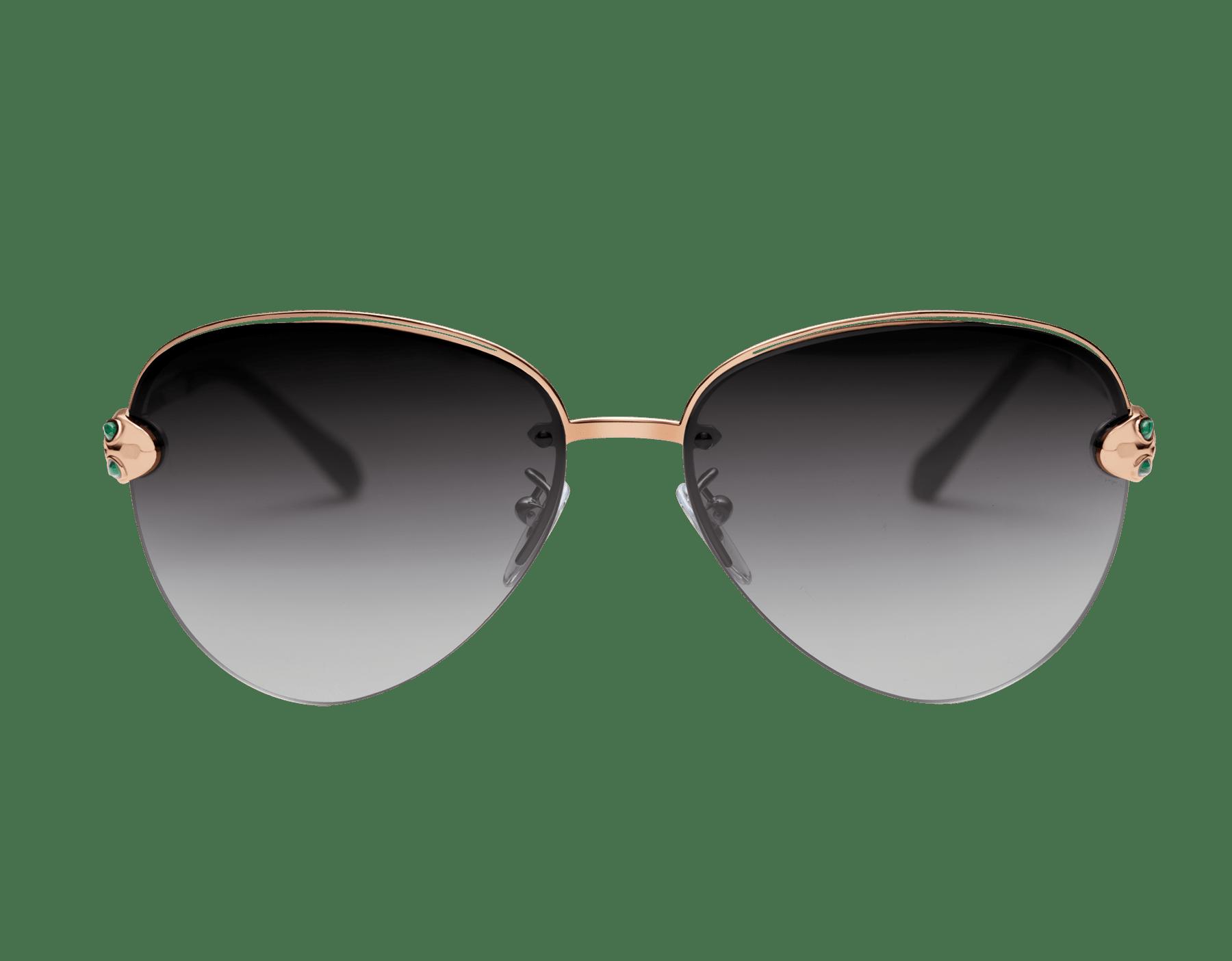 Vergoldete Bvlgari Le Gemme Piloten-Sonnenbrille mit einem Serpenti Schmuckdekor mit Malachit. 903841 image 2