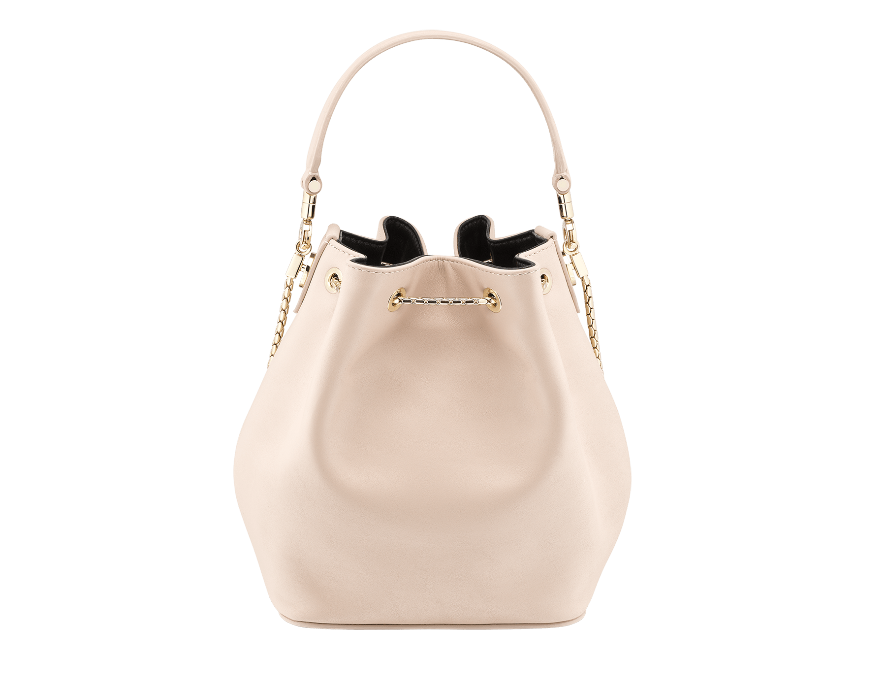 Bucket Serpenti Forever in glacier turquoise smooth calf leather and crystal rose nappa internal lining. Hardware in light gold plated brass and snakehead closure in black and white enamel, with eyes in black onyx. 934-CLb image 3