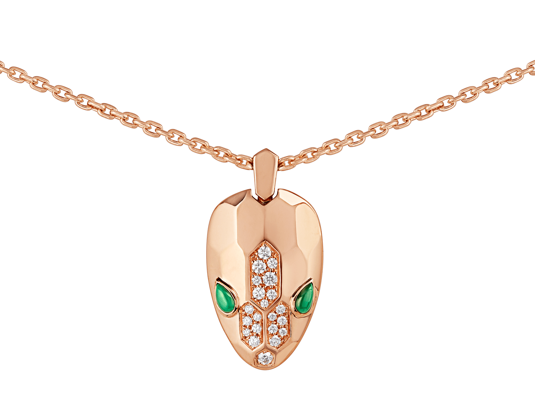Serpenti necklace with 18 kt rose gold chain and pendant, set with malachite eyes and demi pavé diamonds. 352678 image 3