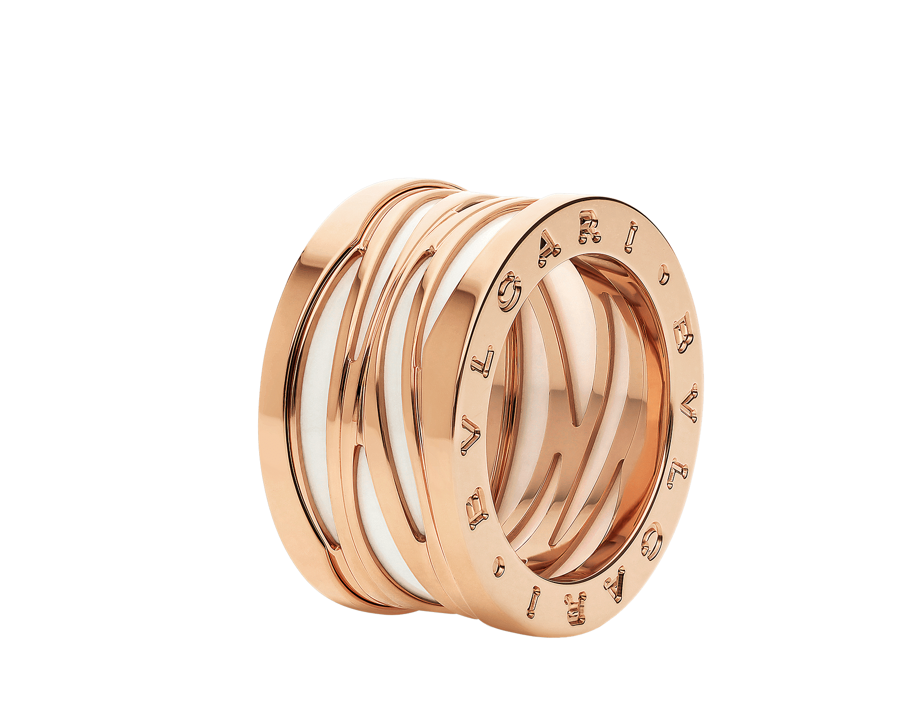 B.zero1 Design Legend four-band ring in 18 kt rose gold and white ceramic AN858574 image 1