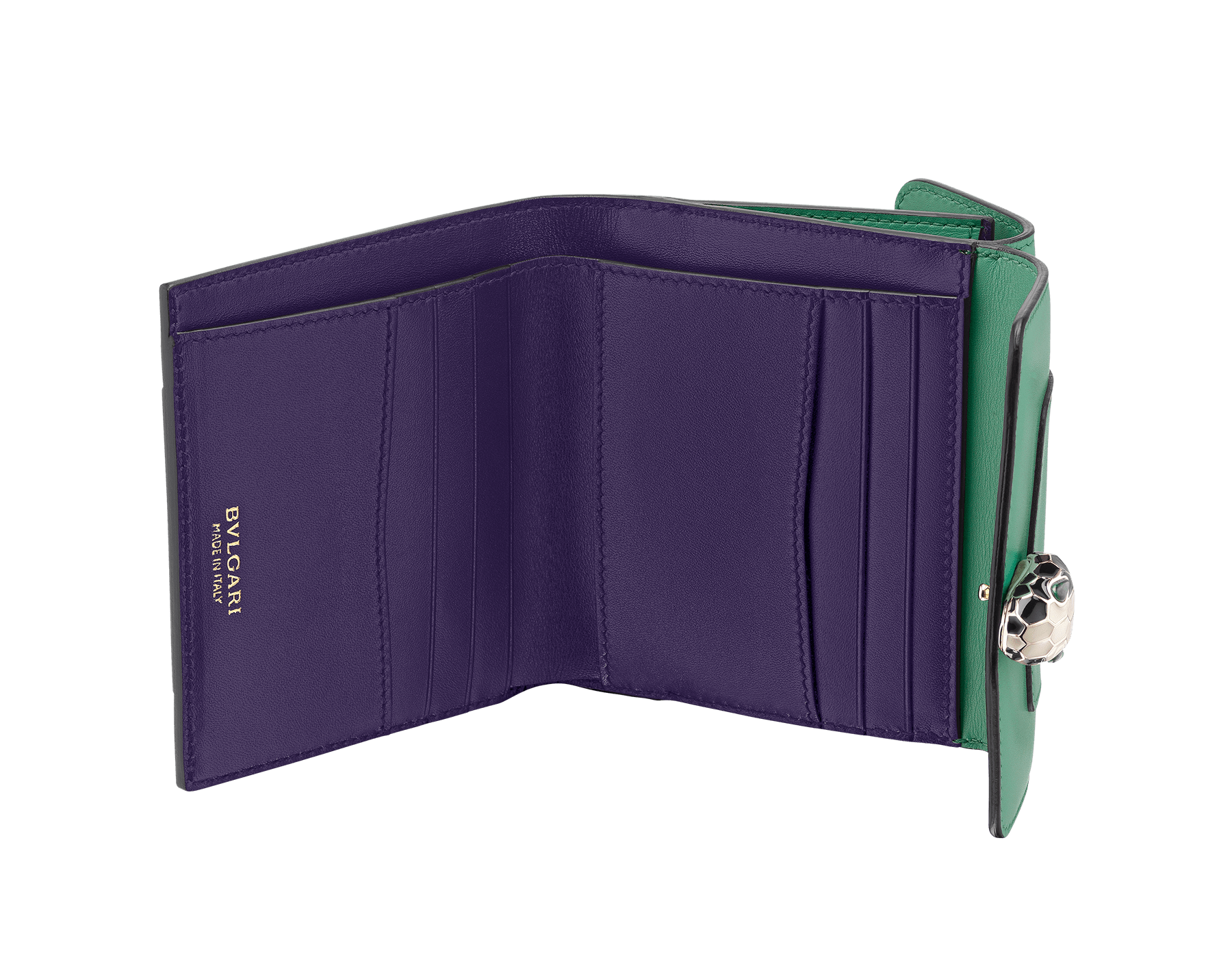 Square compact wallet in emerald green calf leather and violet amethyst calf leather. Brass light gold plated hardware. Serpenti head stud closure in black and white enamel with eyes in green malachite. Double flap cover. Six credit card slots, one bill compartment, two additional compartments and a change holder. Also available in other colours. 11 x 10 cm. - 4.3 x 3.9 281382 image 2