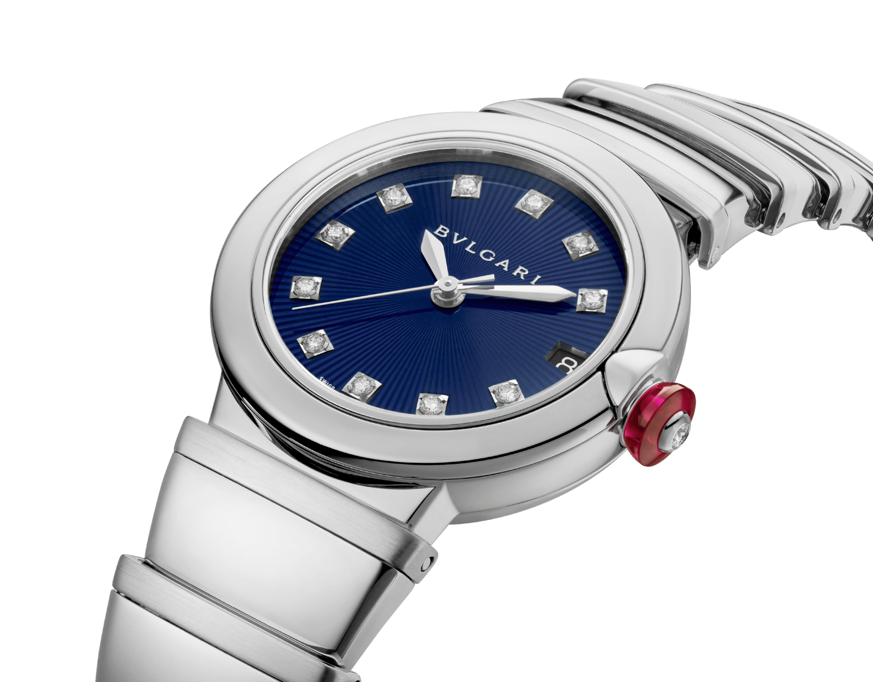 LVCEA watch in stainless steel case and bracelet, with blue dial and diamond indexes. 102564 image 2