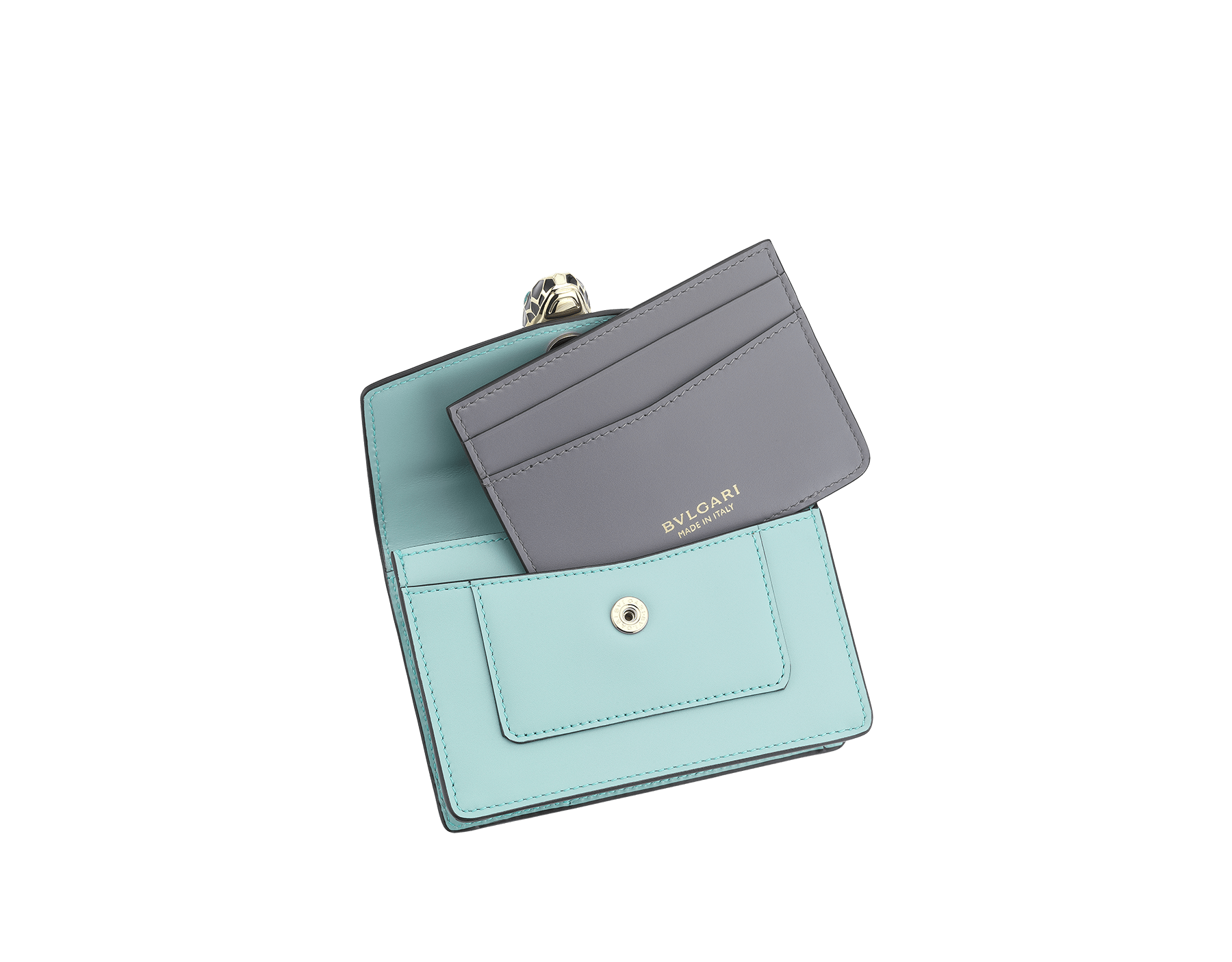 Serpenti Forever pocket credit card holder crafted in glacier turquoise and rhapsody opal calf leather, with glacier turquoise nappa lining. Iconic brass light gold plated snakehead stud closure in black and white enamel, with eyes in green malachite. 287174 image 2