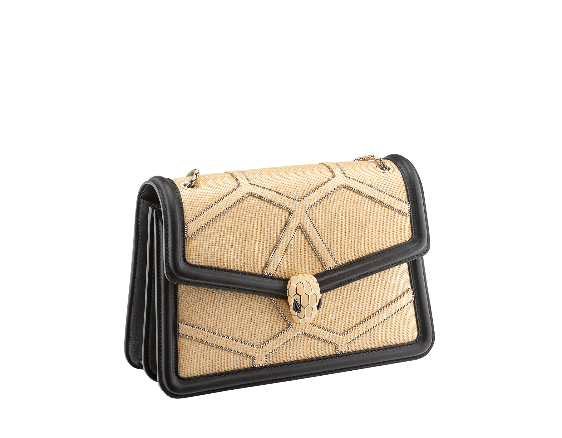 """""""Serpenti Forever """" shoulder bag in beige raffia and black nappa leather internal lining. Alluring light gold-plated brass snakehead closure enhanced with full matte Natural beige enamel and black onyx eyes. 290904 image 2"""