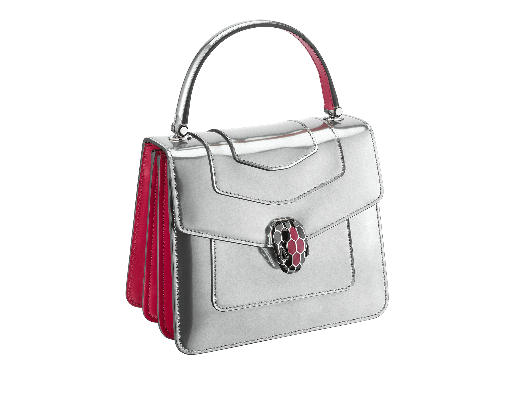 """Serpenti Forever"" crossbody bag in silver brushed metallic calf leather body and jazzy tourmaline calf leather sides. Iconic snakehead closure in palladium plated brass enriched with black and jazzy tourmaline enamel and black onyx eyes. 287122 image 2"